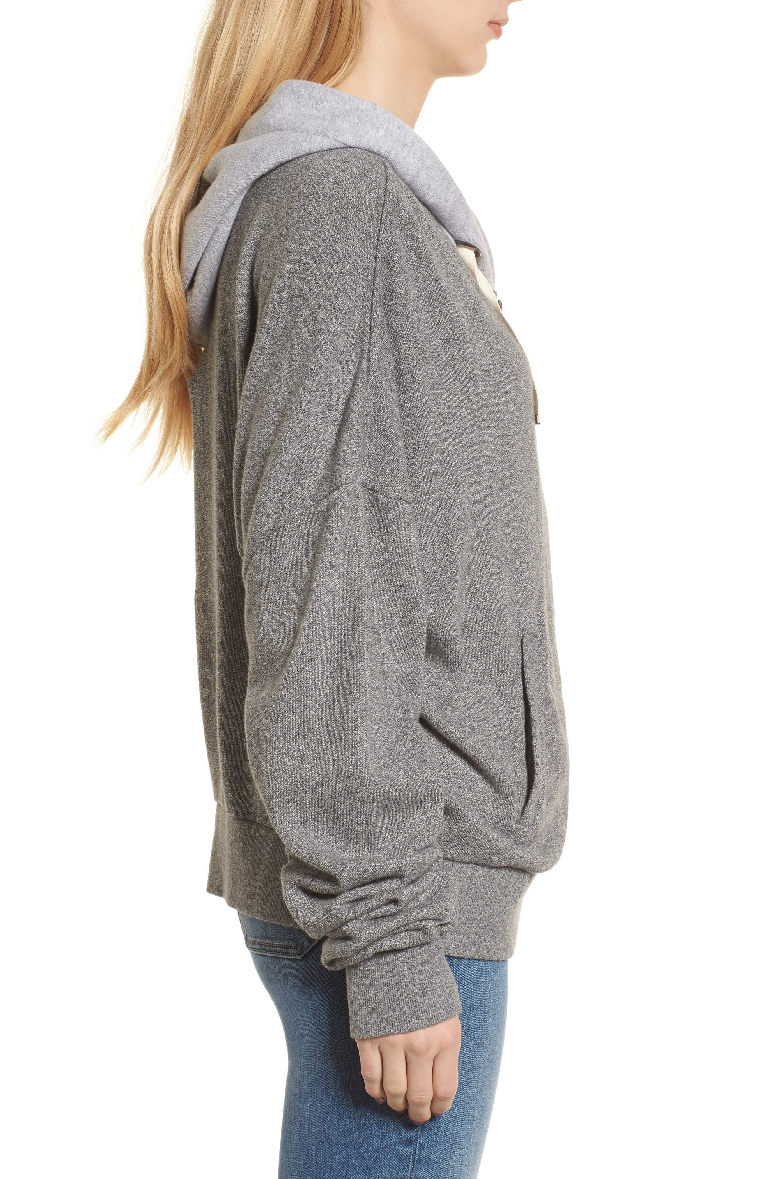 Ruched Sleeve Hoodie,                             Alternate thumbnail 3, color,                             HEATHER GREY
