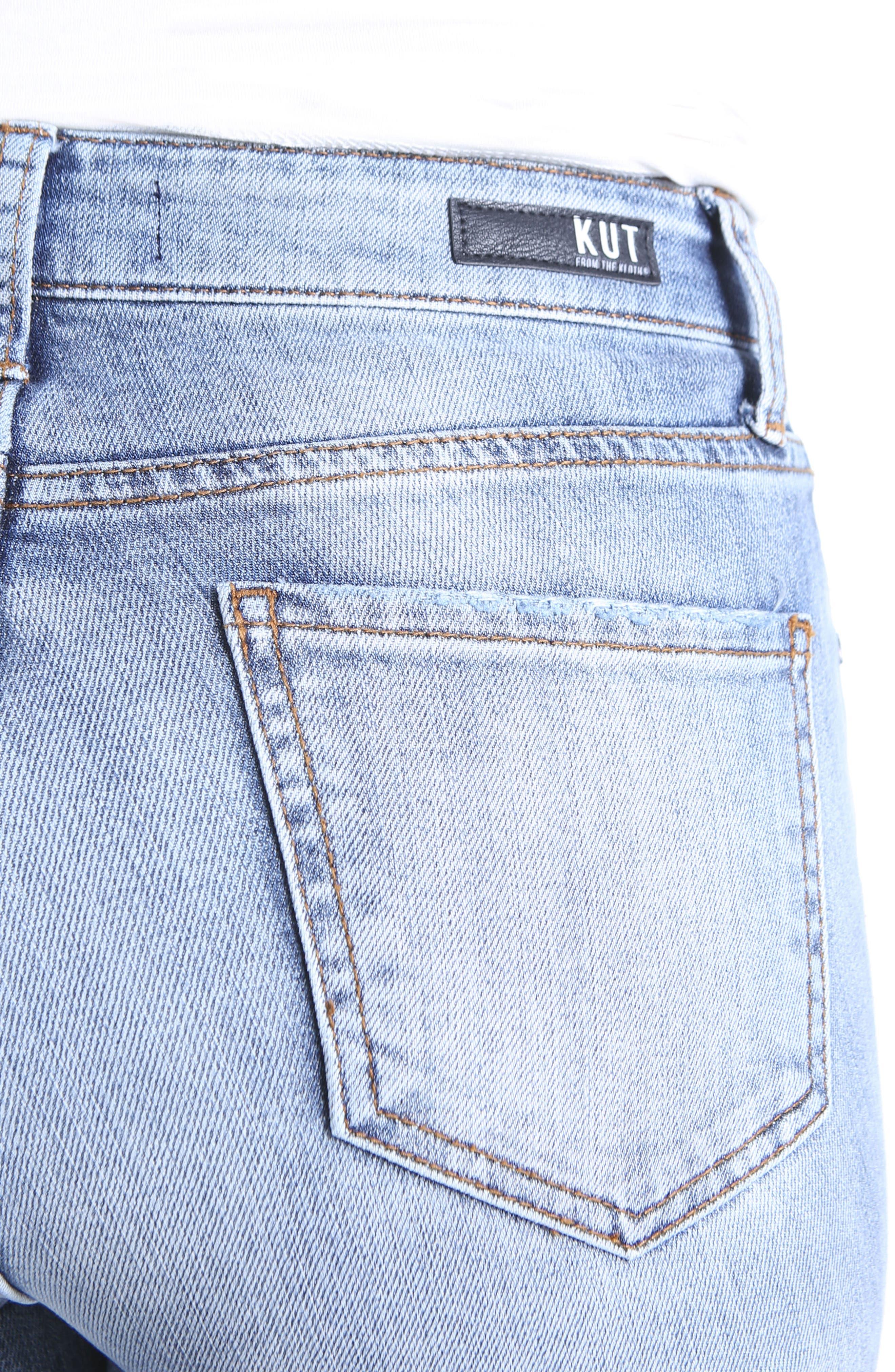 Reese Dark Flare Inset Straight Leg Ankle Jeans,                             Alternate thumbnail 4, color,                             400