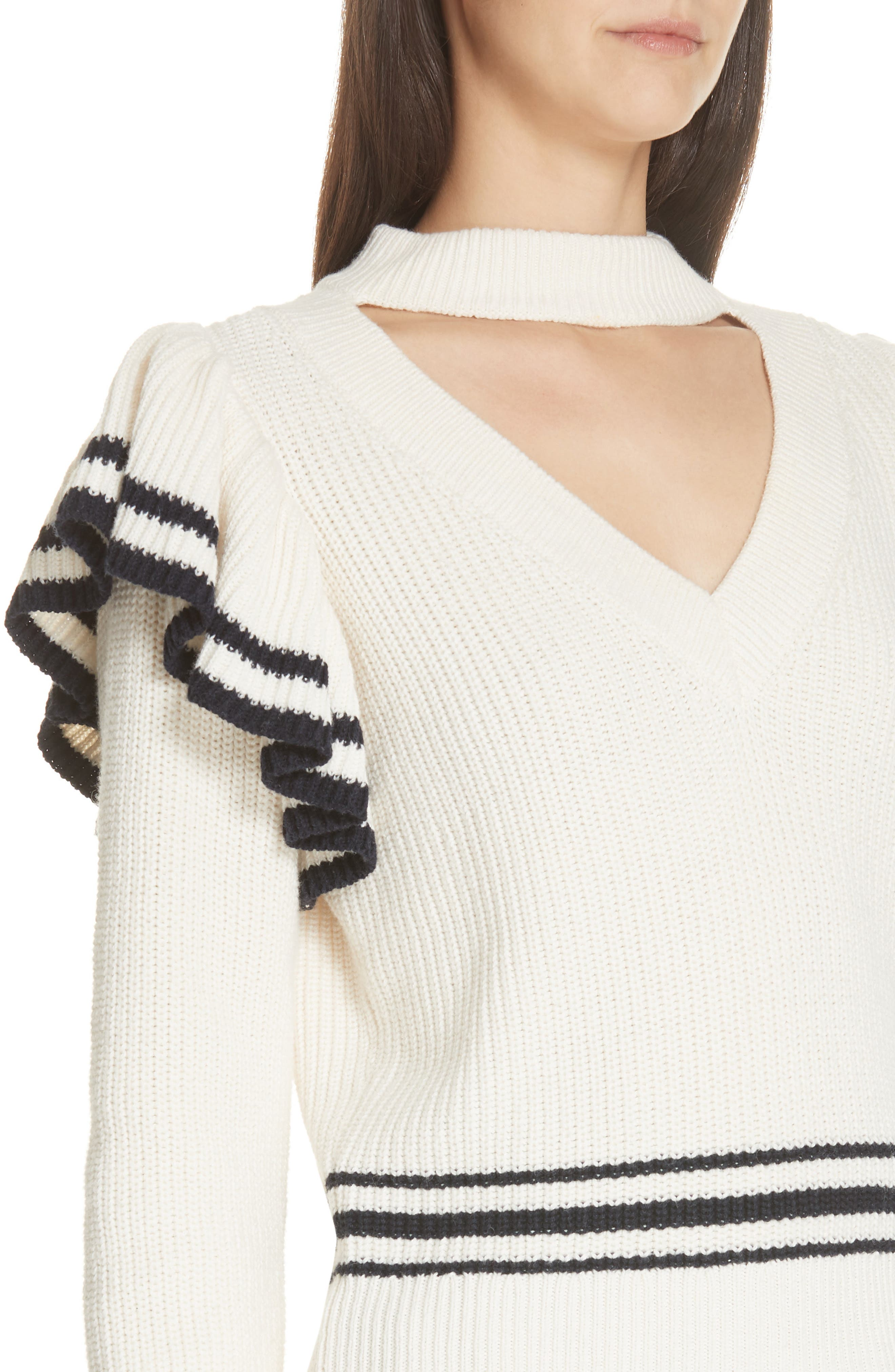 Stripe Ruffle Trim Sweater,                             Alternate thumbnail 4, color,                             IVORY-NAVY