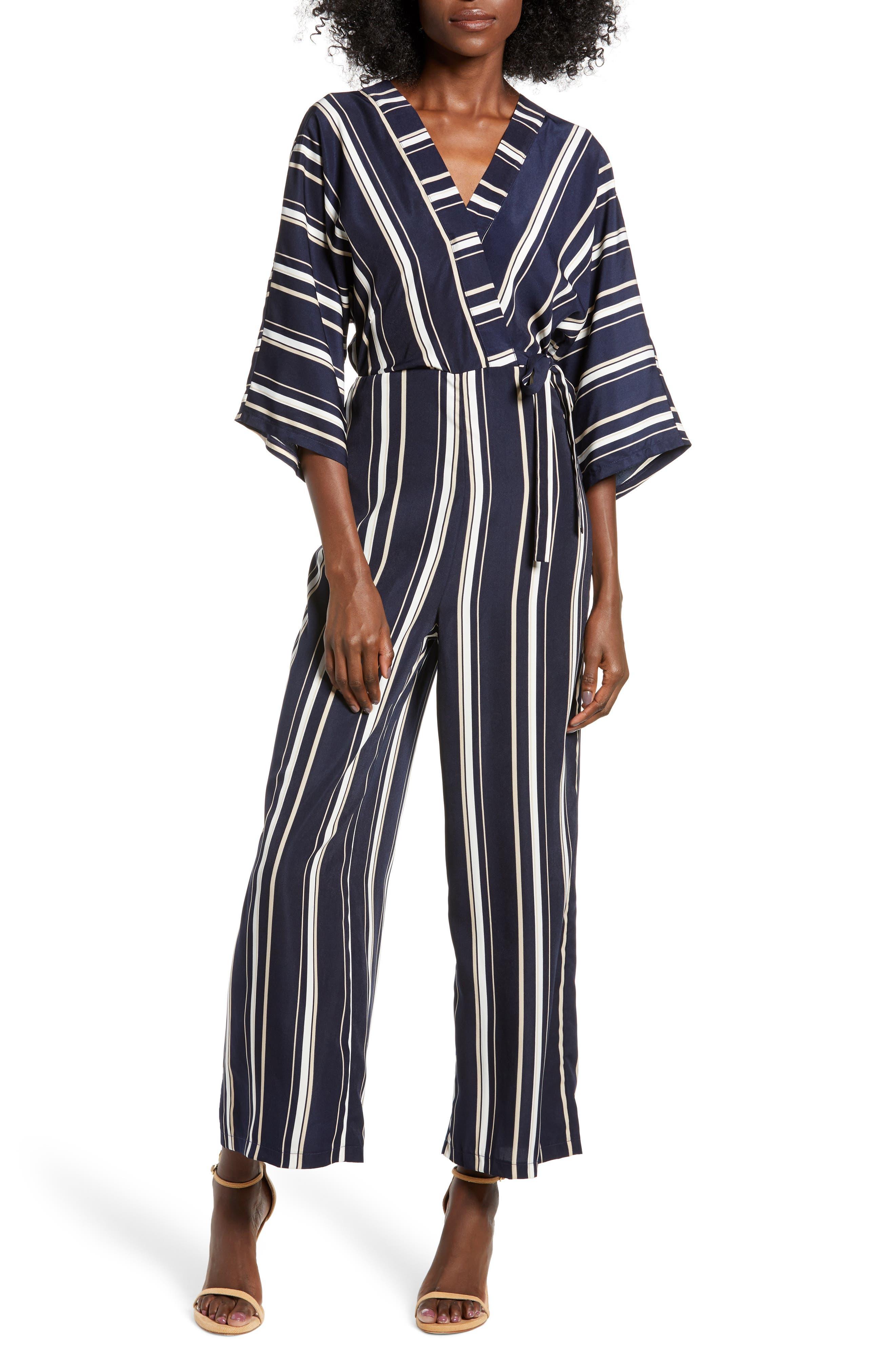 Crossover Stripe Jumpsuit,                             Main thumbnail 1, color,                             400