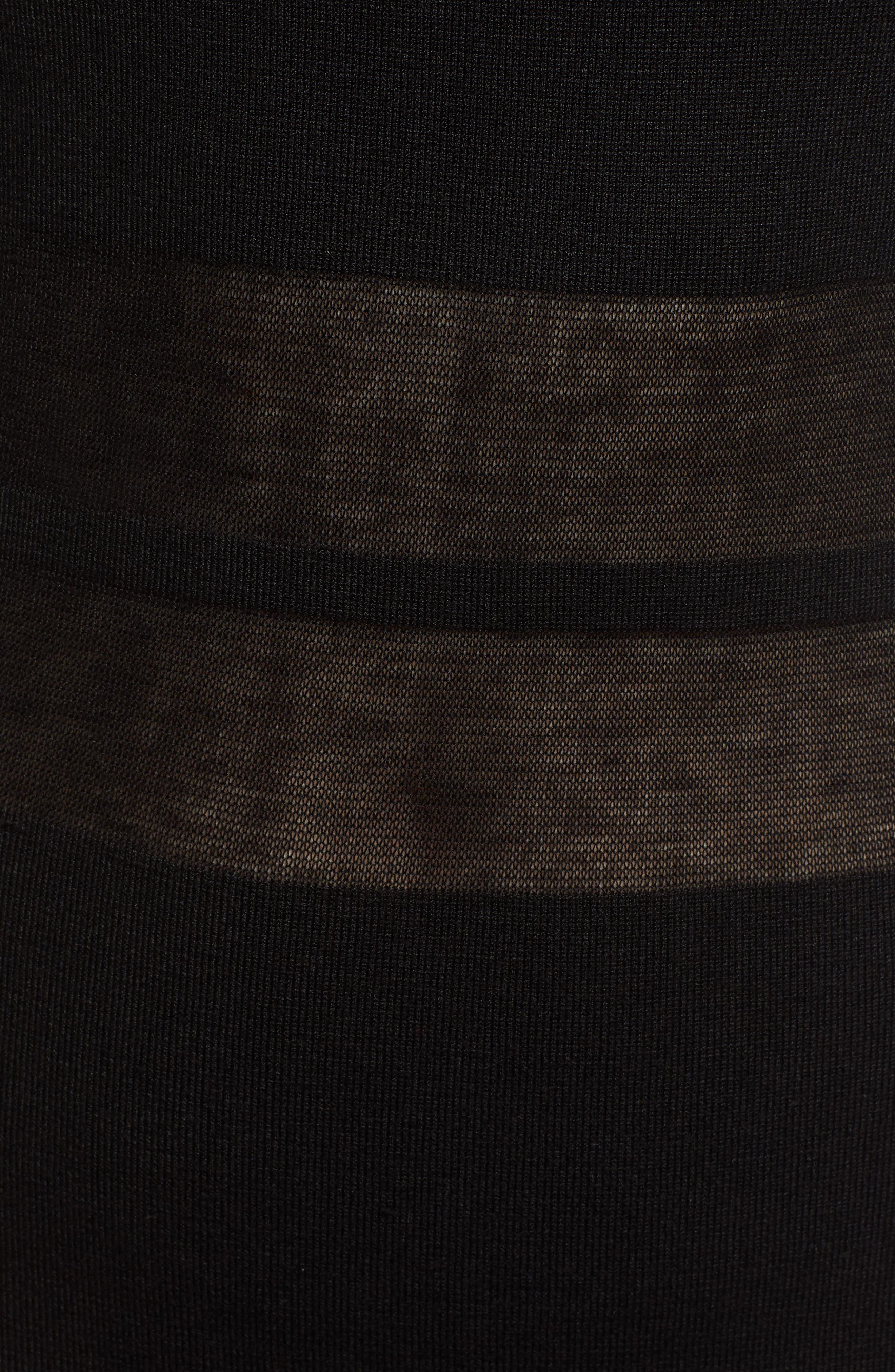 Illusion Stripe Midi Dress,                             Alternate thumbnail 6, color,                             BLACK
