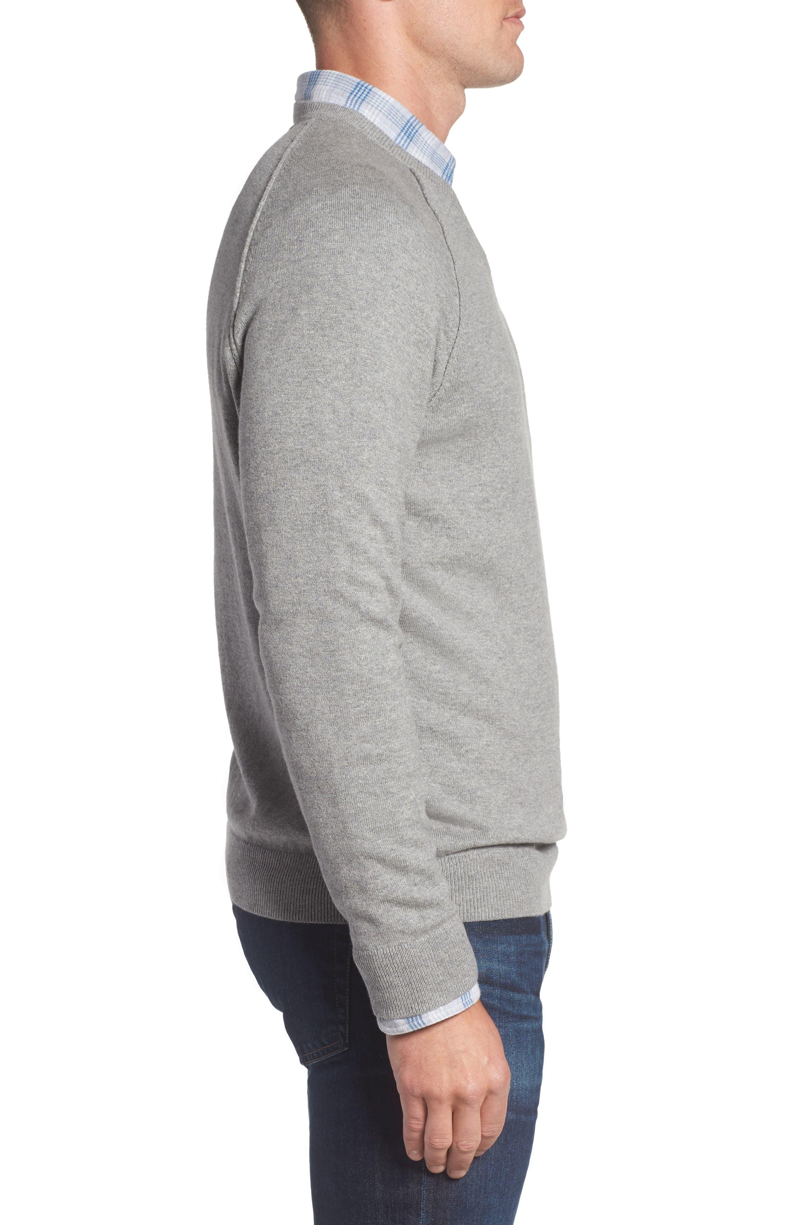Saddle Shoulder Cotton & Cashmere V-Neck Sweater,                             Alternate thumbnail 20, color,