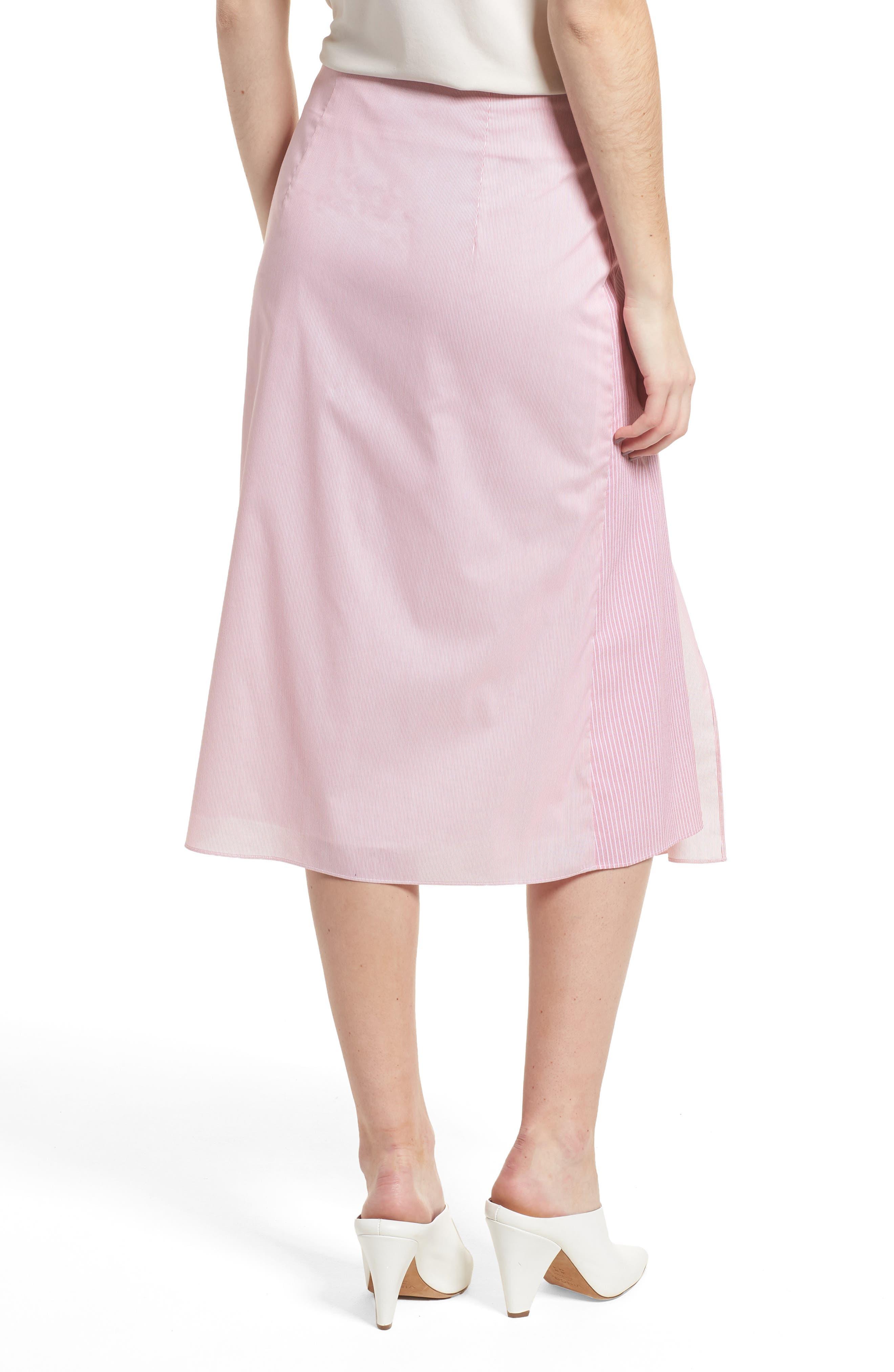 Mixed Stripe Poplin A-Line Skirt,                             Alternate thumbnail 4, color,