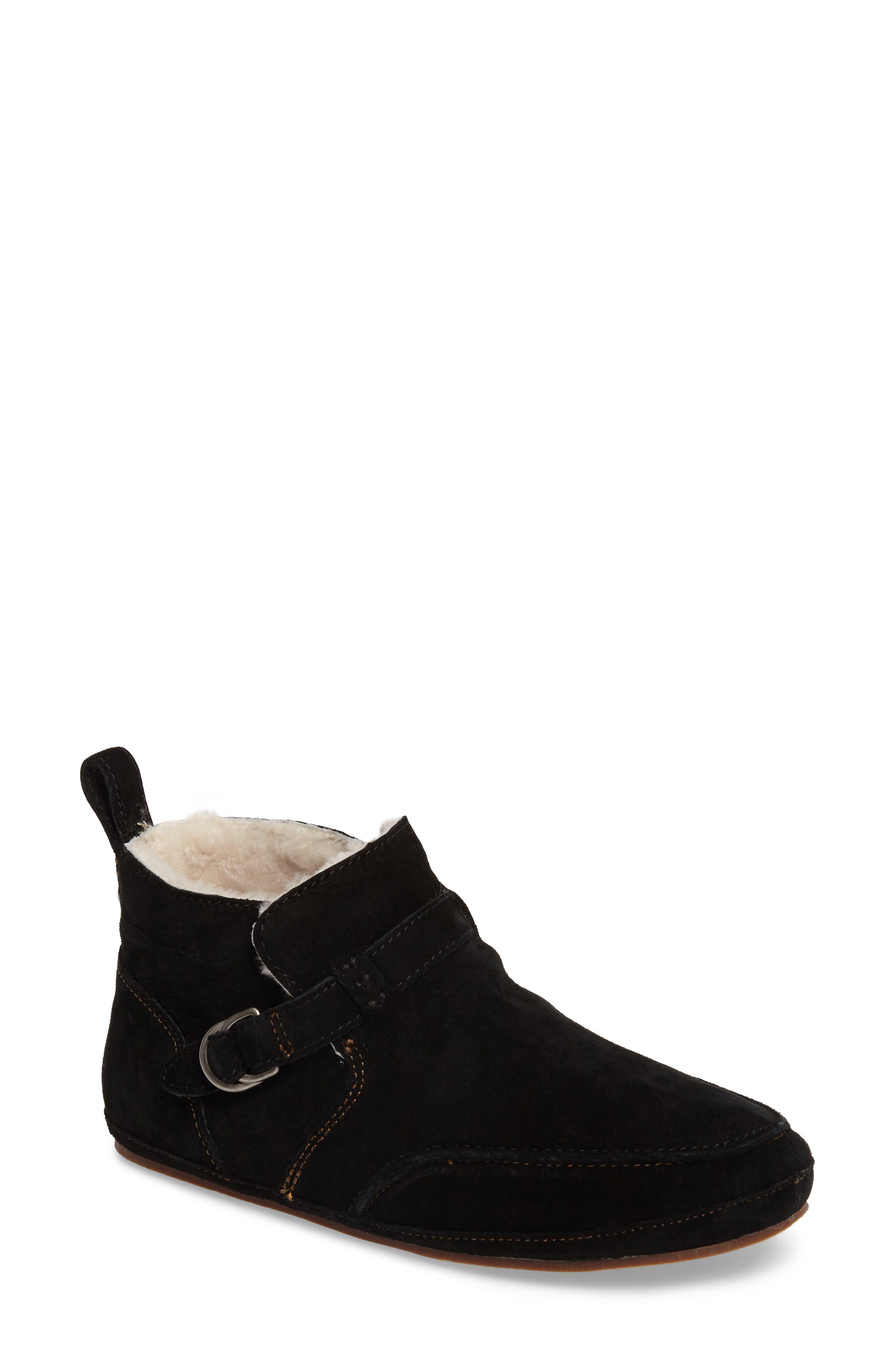 Ola Hou Genuine Shearling Bootie,                         Main,                         color, BLACK/ BLACK LEATHER