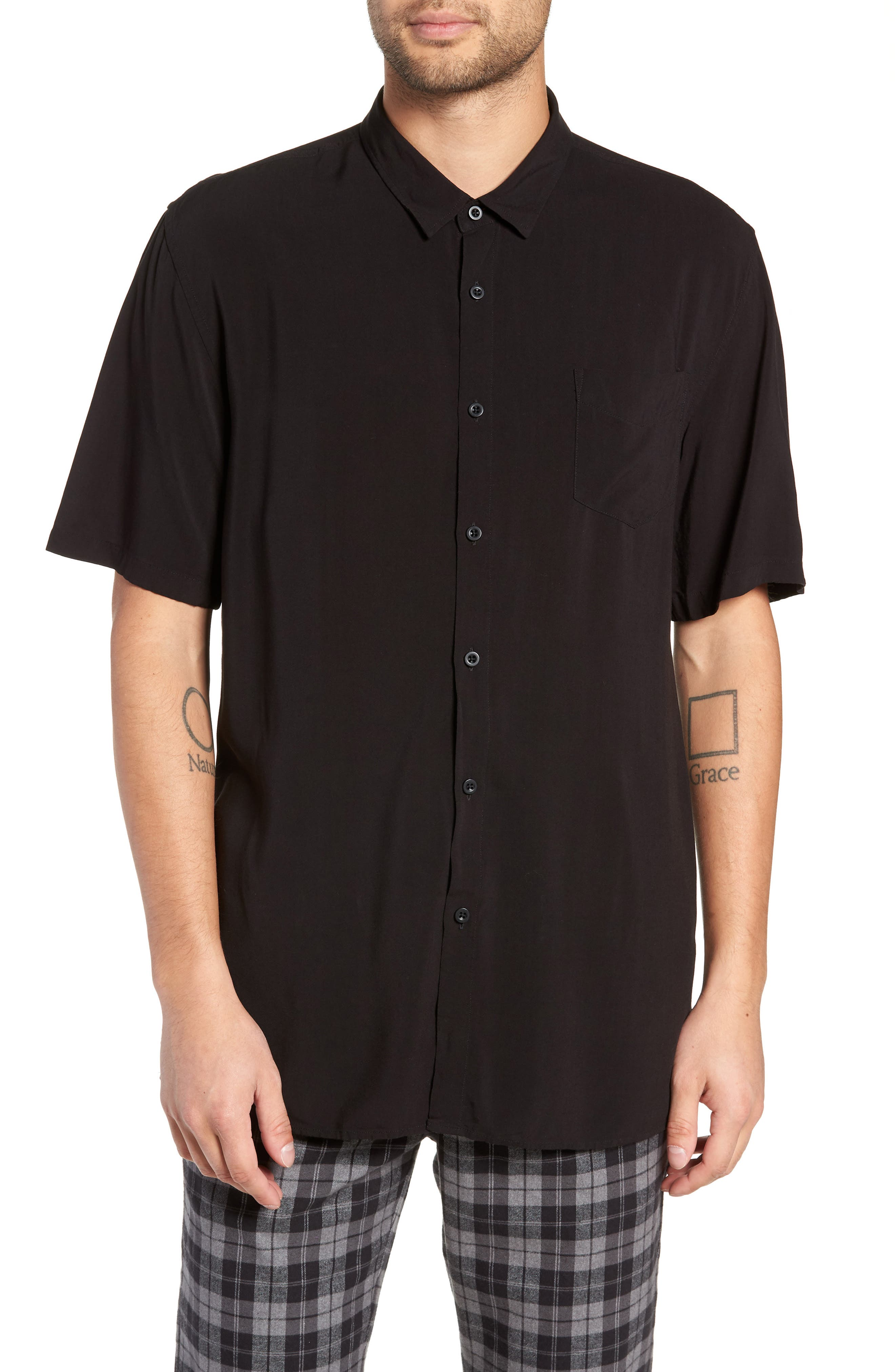 Solid Short Sleeve Shirt,                         Main,                         color, BLACK