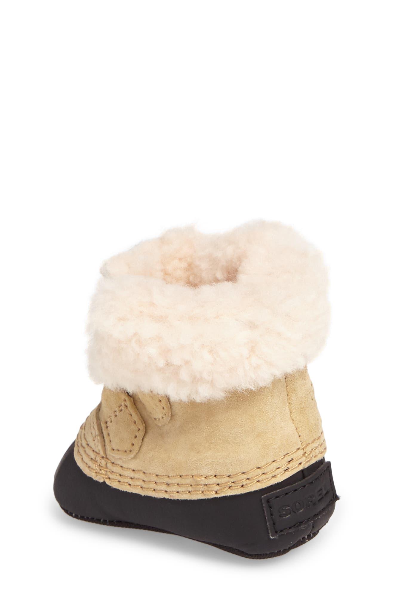 Caribootie Genuine Shearling Crib Shoe,                             Alternate thumbnail 9, color,