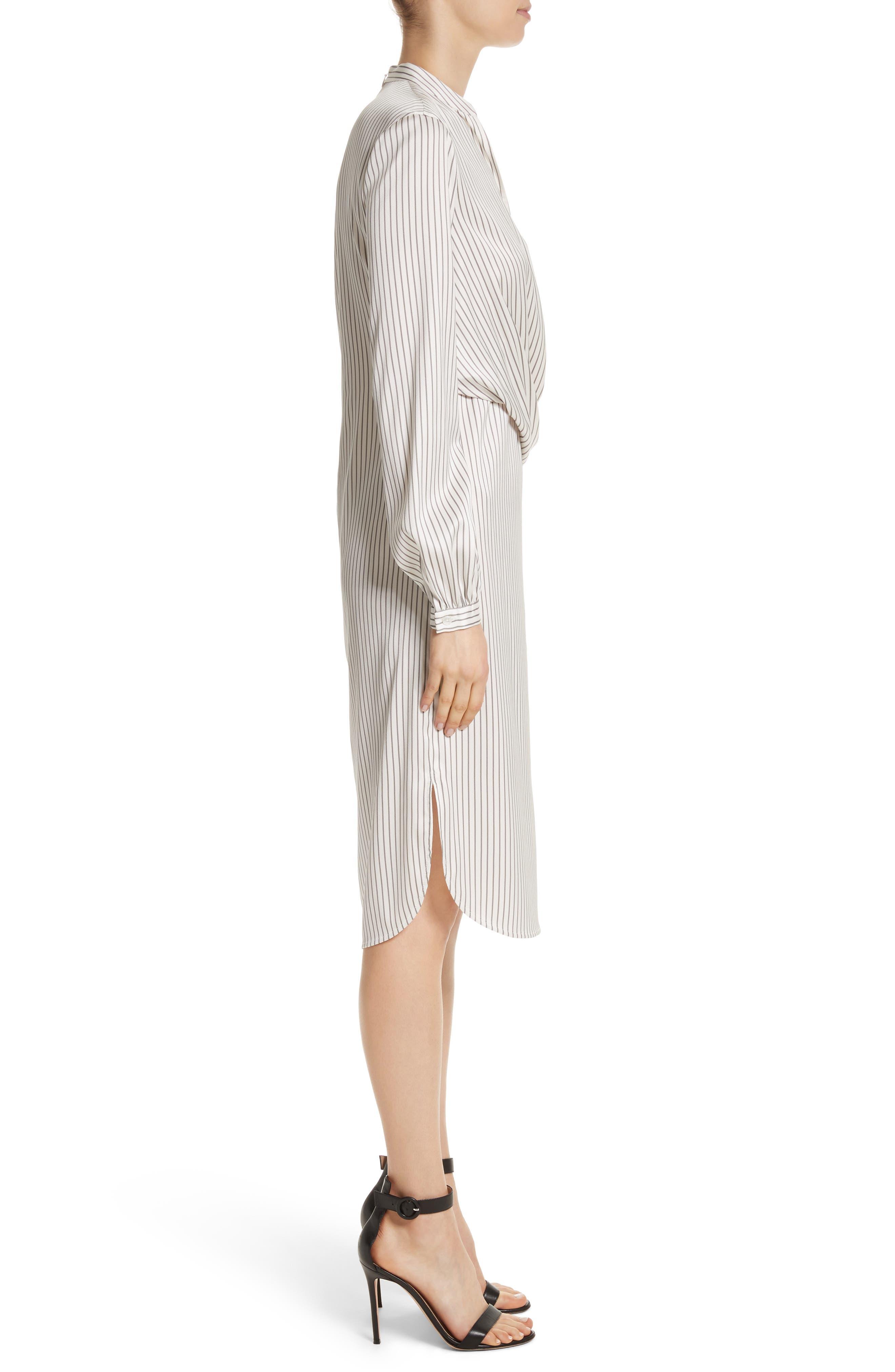 Vertical Stripe Stretch Silk Dress,                             Alternate thumbnail 3, color,                             270