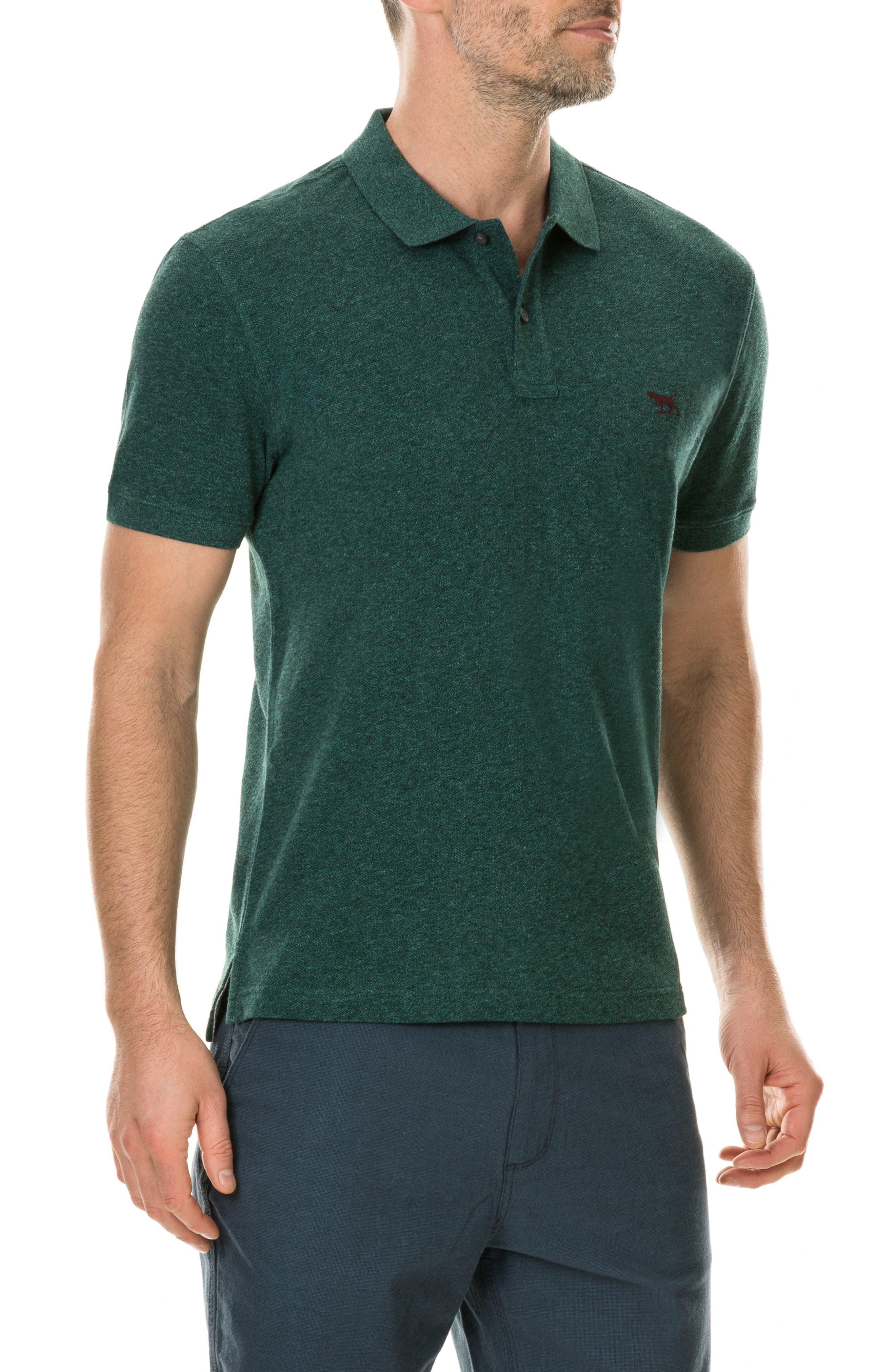 'The Gunn' Piqué Sports Fit Cotton Polo,                             Alternate thumbnail 3, color,                             PINE