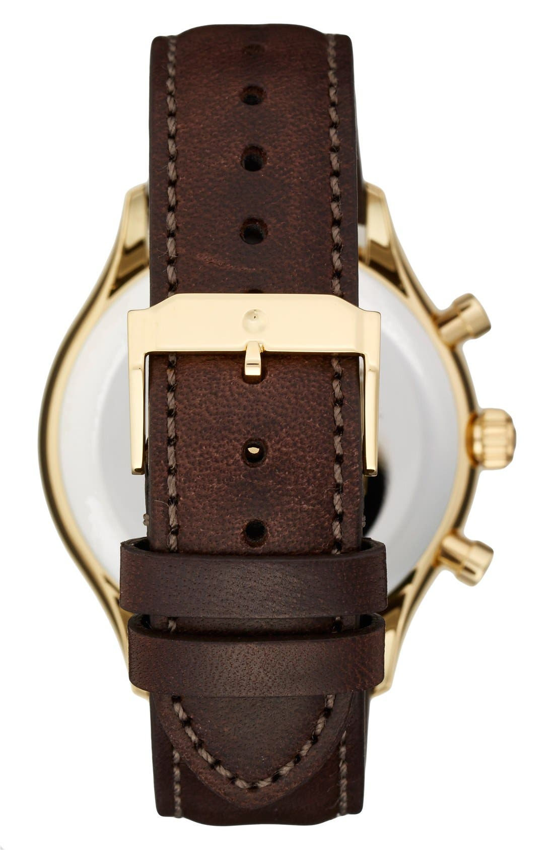 'Heritage' Chronograph Leather Strap Watch, 43mm,                             Alternate thumbnail 3, color,                             100