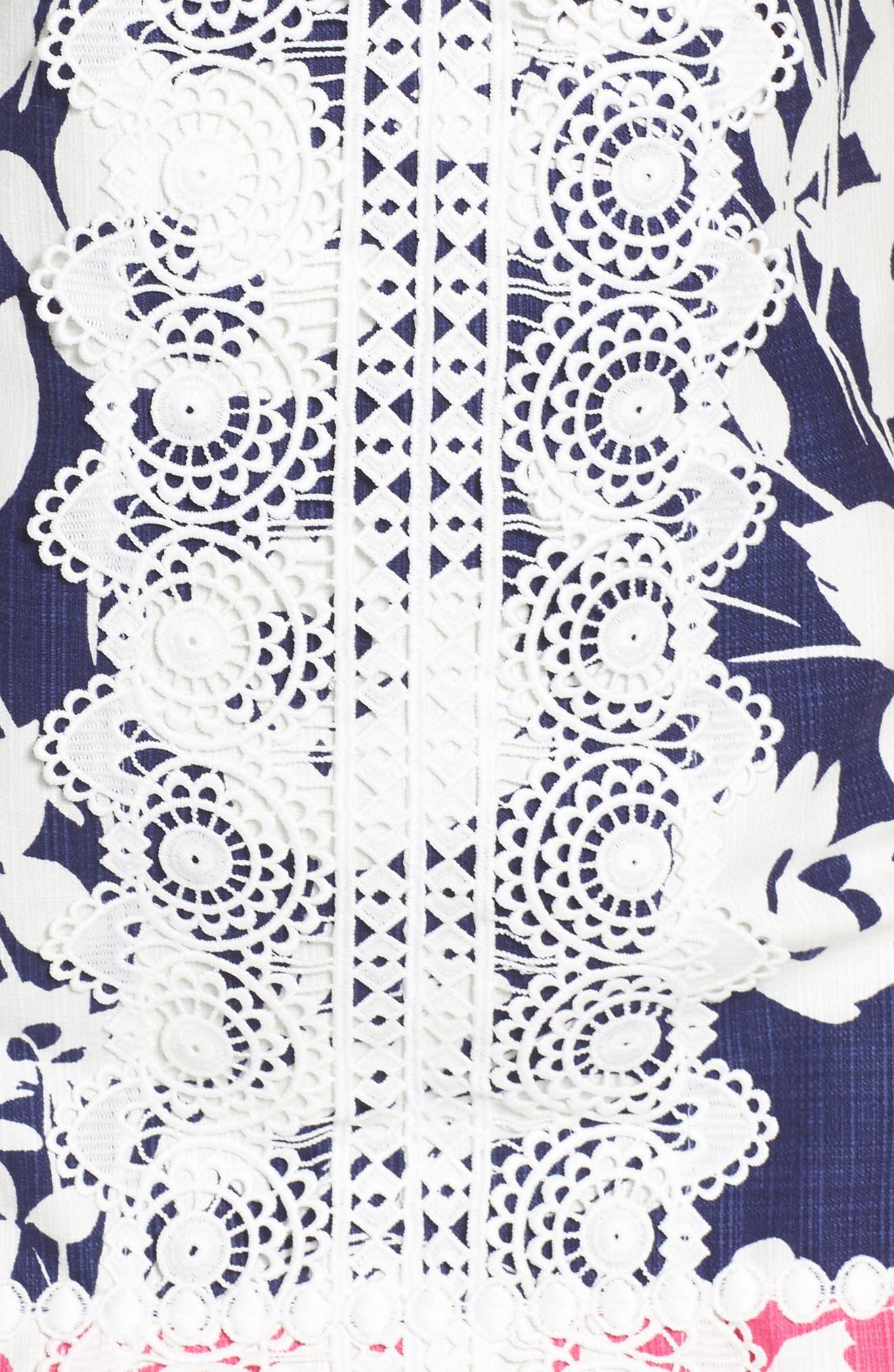 Stretch Cotton A-Line Dress,                             Alternate thumbnail 6, color,                             NAVY/ PINK