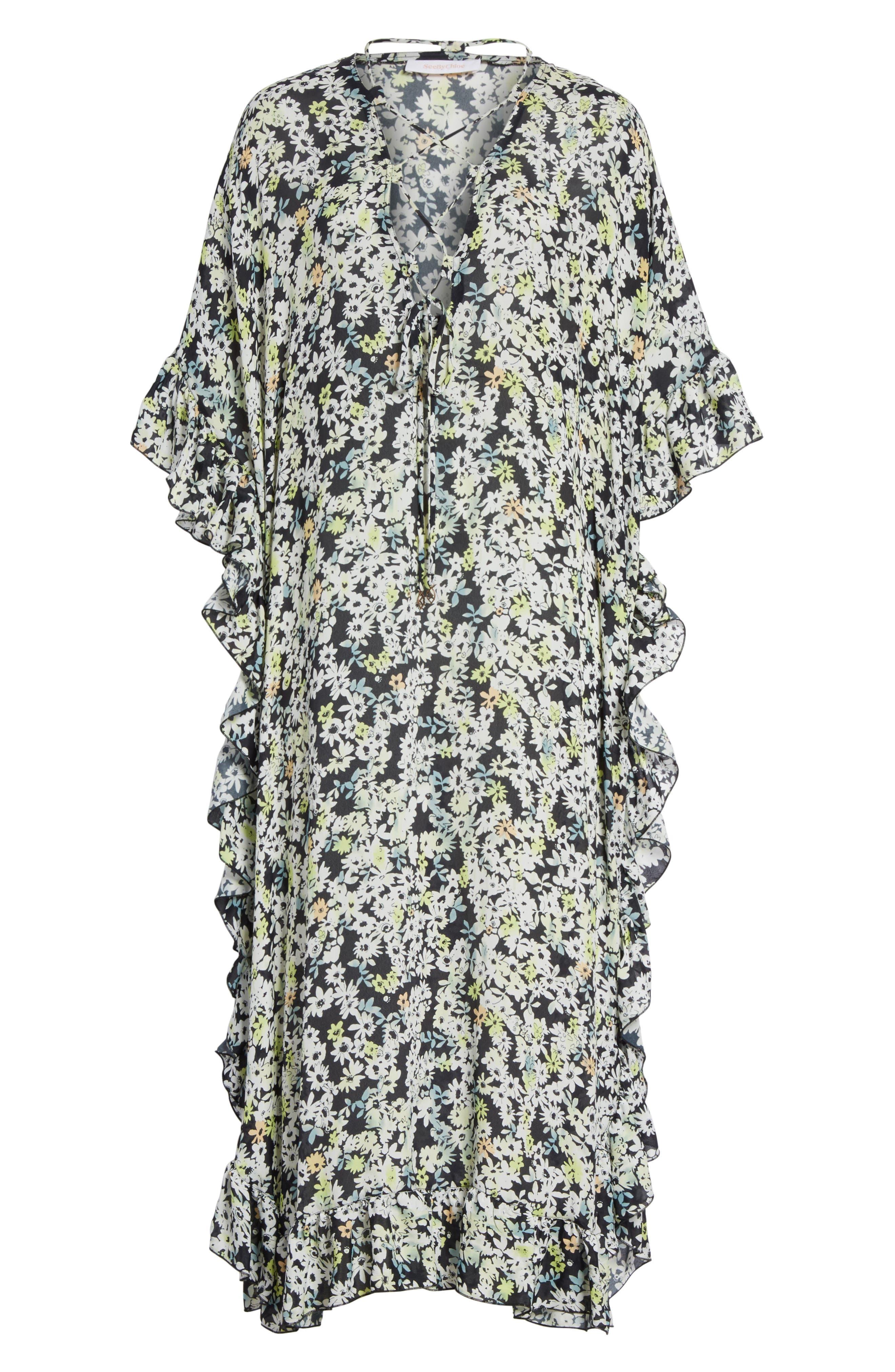 SEE BY CHLOÉ,                             Floral Print Flutter Edge Dress,                             Alternate thumbnail 6, color,                             021