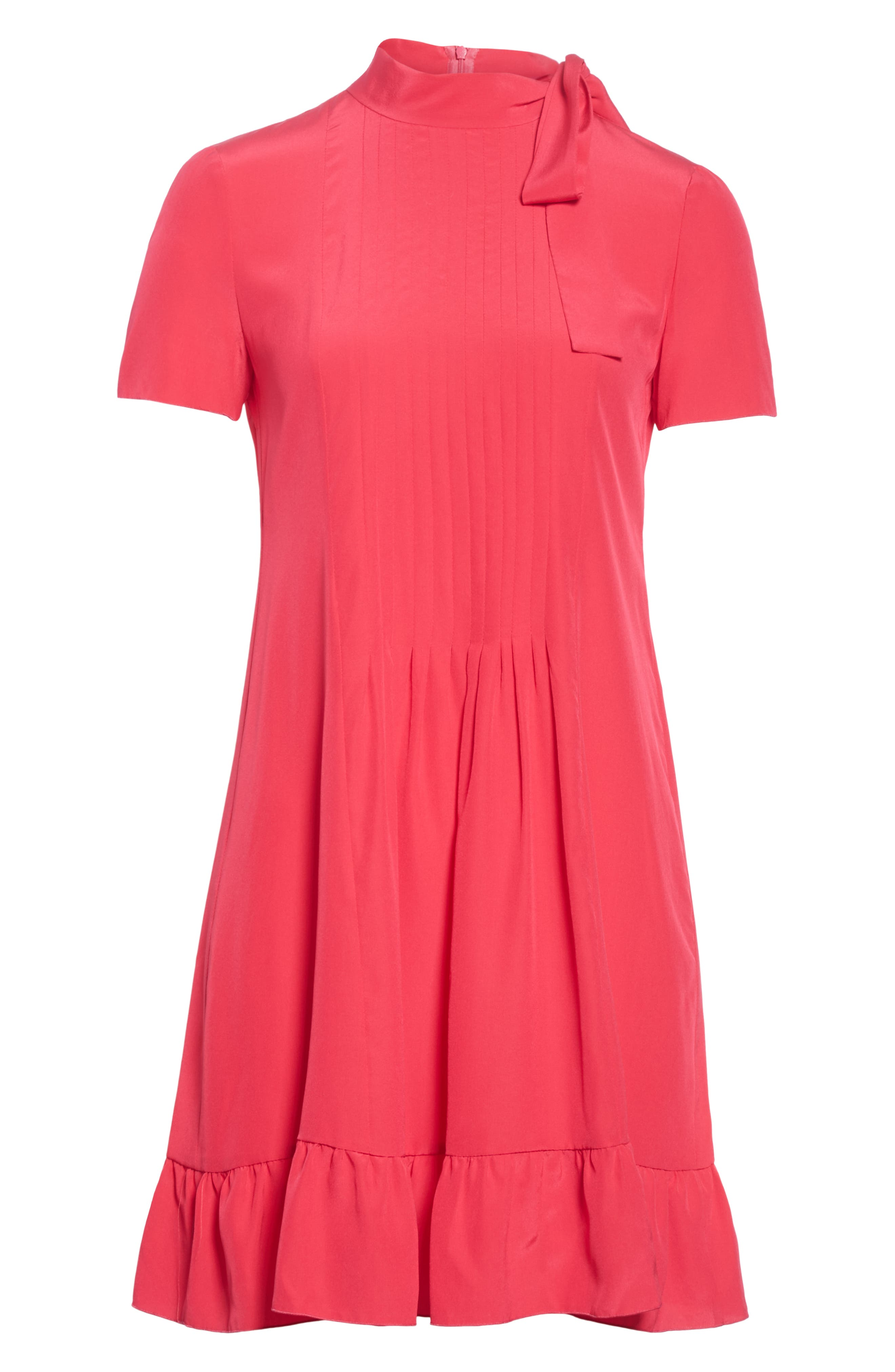 RED VALENTINO,                             Tie Neck Pleated Silk Dress,                             Alternate thumbnail 6, color,                             600