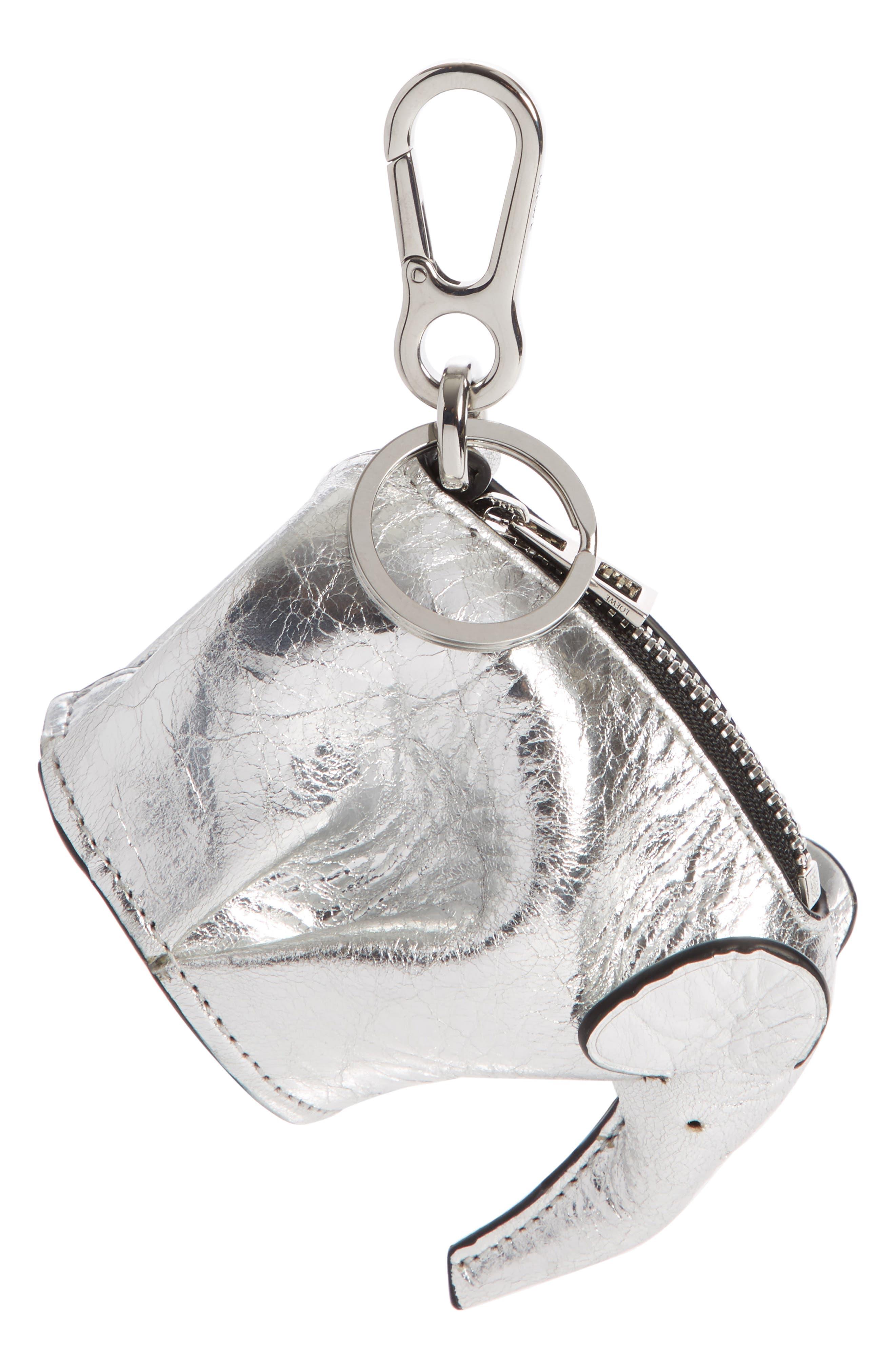 Elephant Metallic Leather Bag Charm,                             Main thumbnail 1, color,                             SILVER