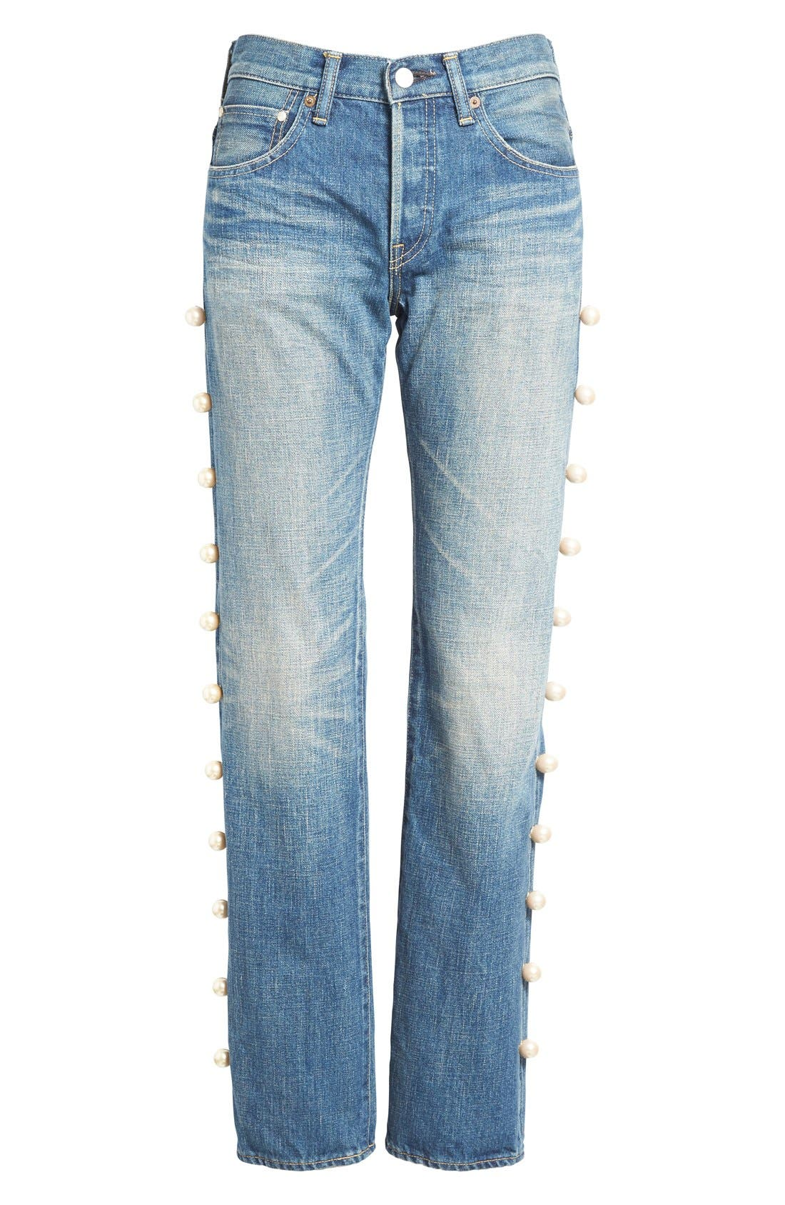 Imitation Pearl Embellished Jeans,                             Alternate thumbnail 4, color,                             101