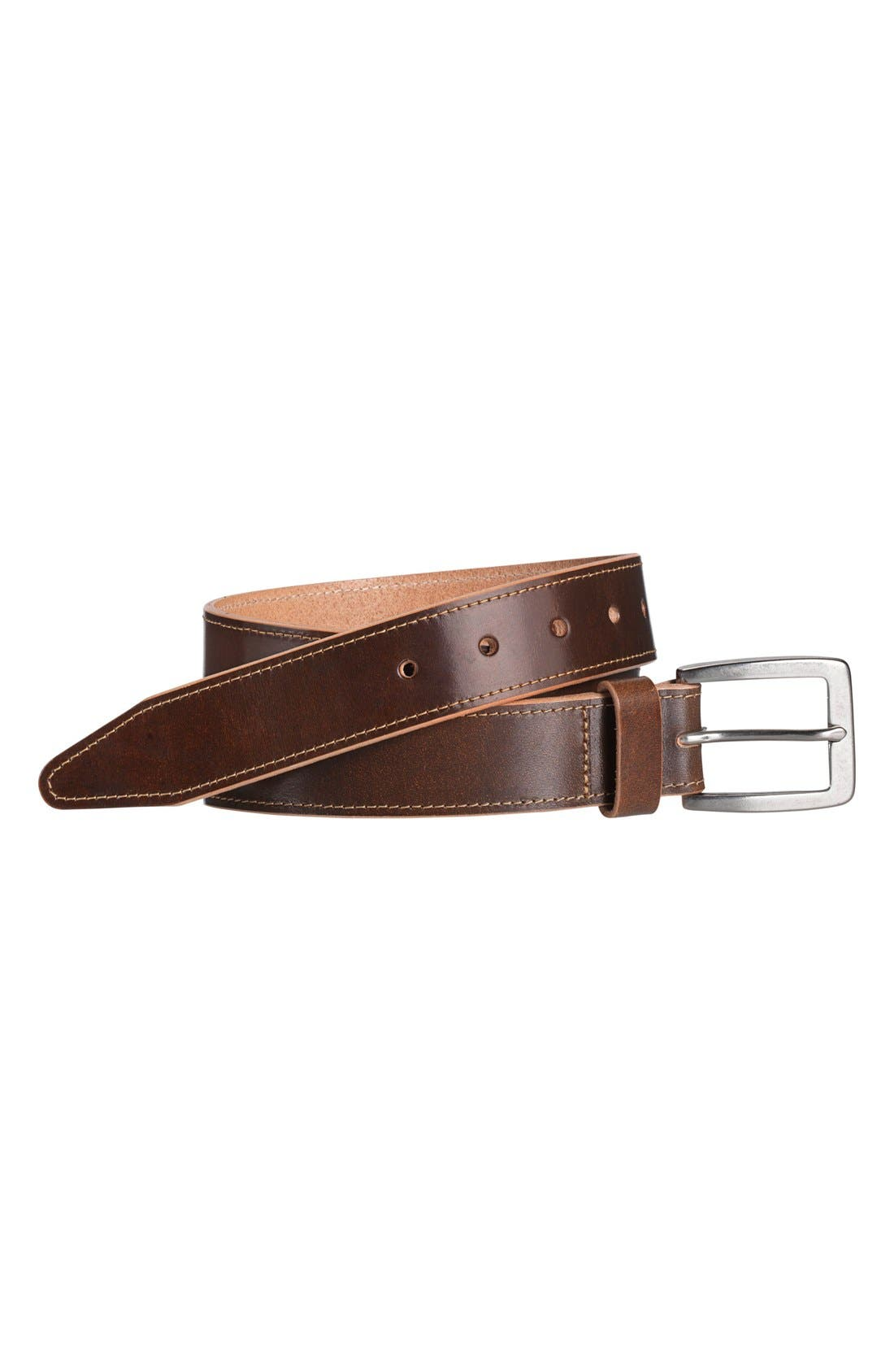 Leather Belt,                             Alternate thumbnail 2, color,                             BROWN