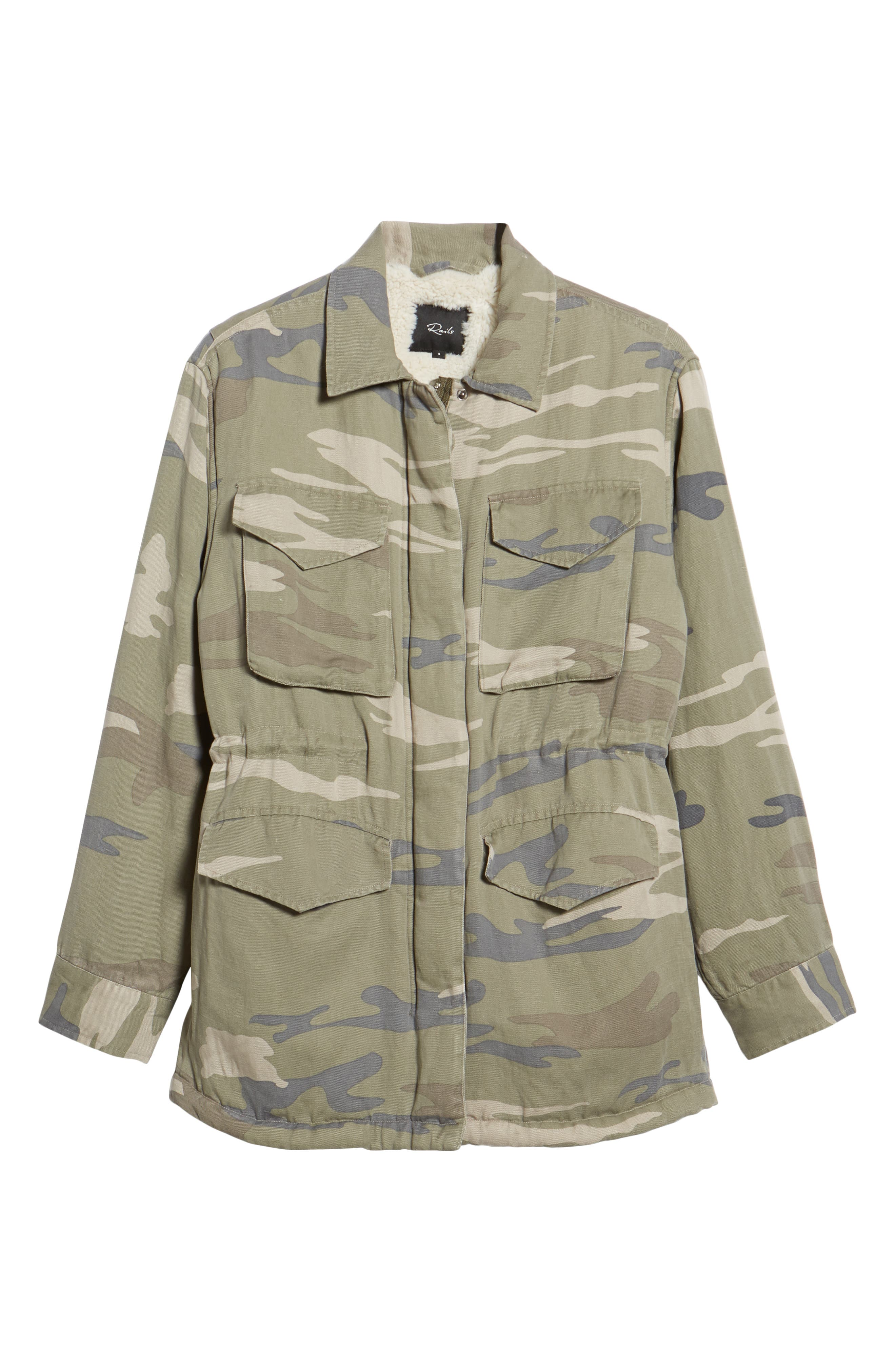 Whitaker Camo Utility Linen Blend Jacket,                             Alternate thumbnail 7, color,                             SAGE CAMO