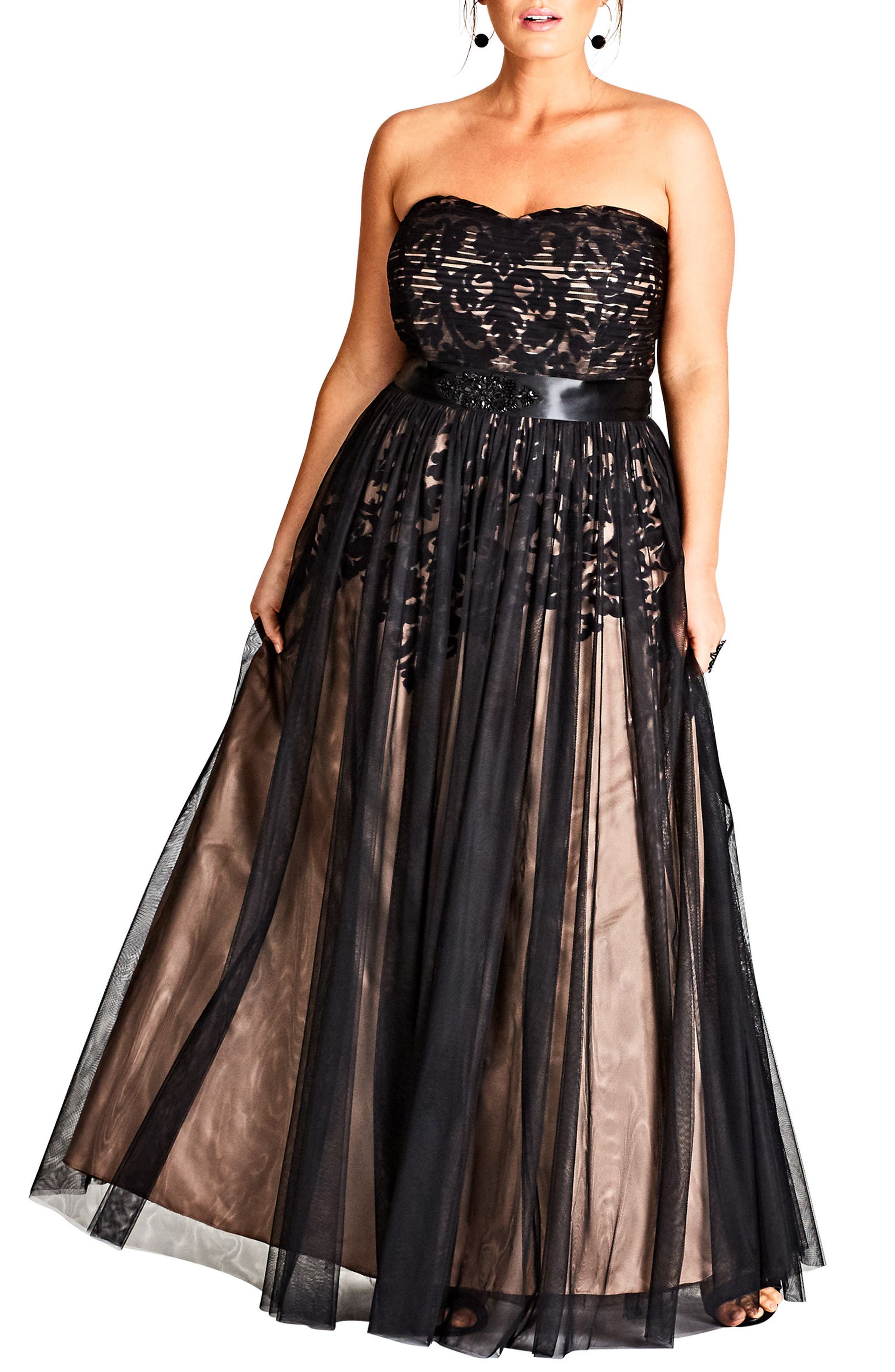 Embellished Tulle Strapless Ballgown,                             Main thumbnail 1, color,                             BLACK