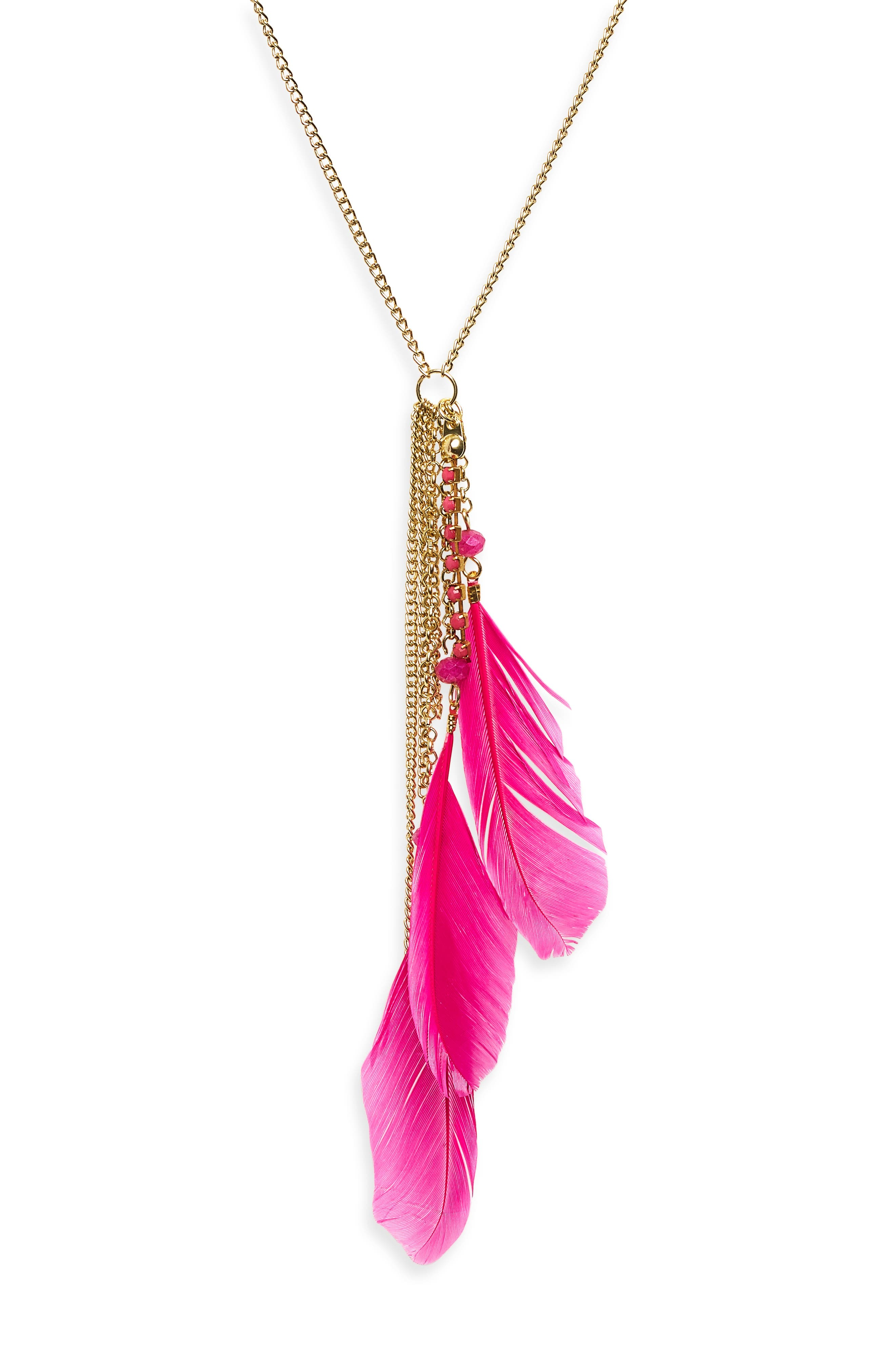 Kayla Feather Necklace,                             Alternate thumbnail 4, color,
