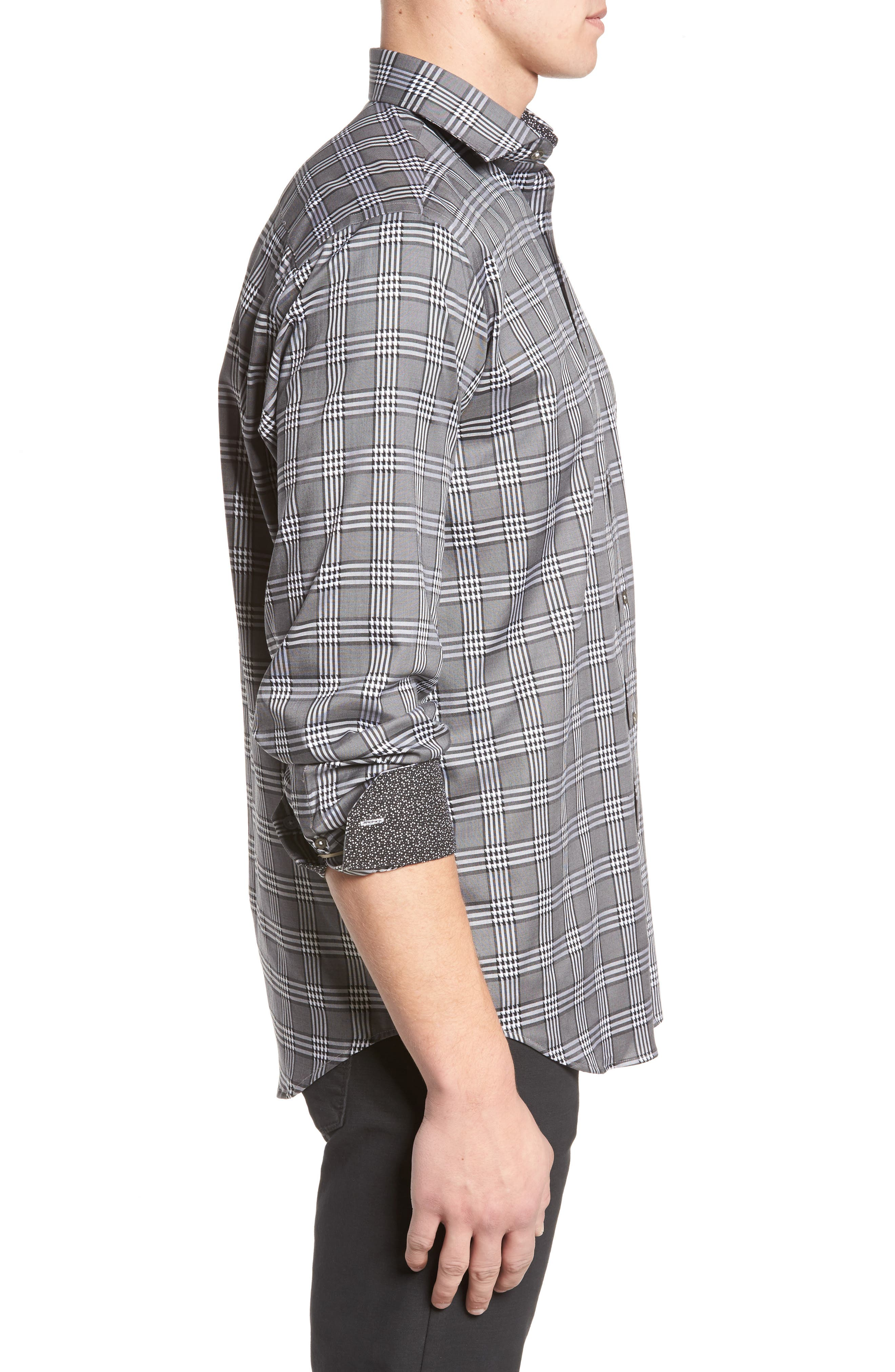 Classic Fit Plaid Sport Shirt,                             Alternate thumbnail 3, color,