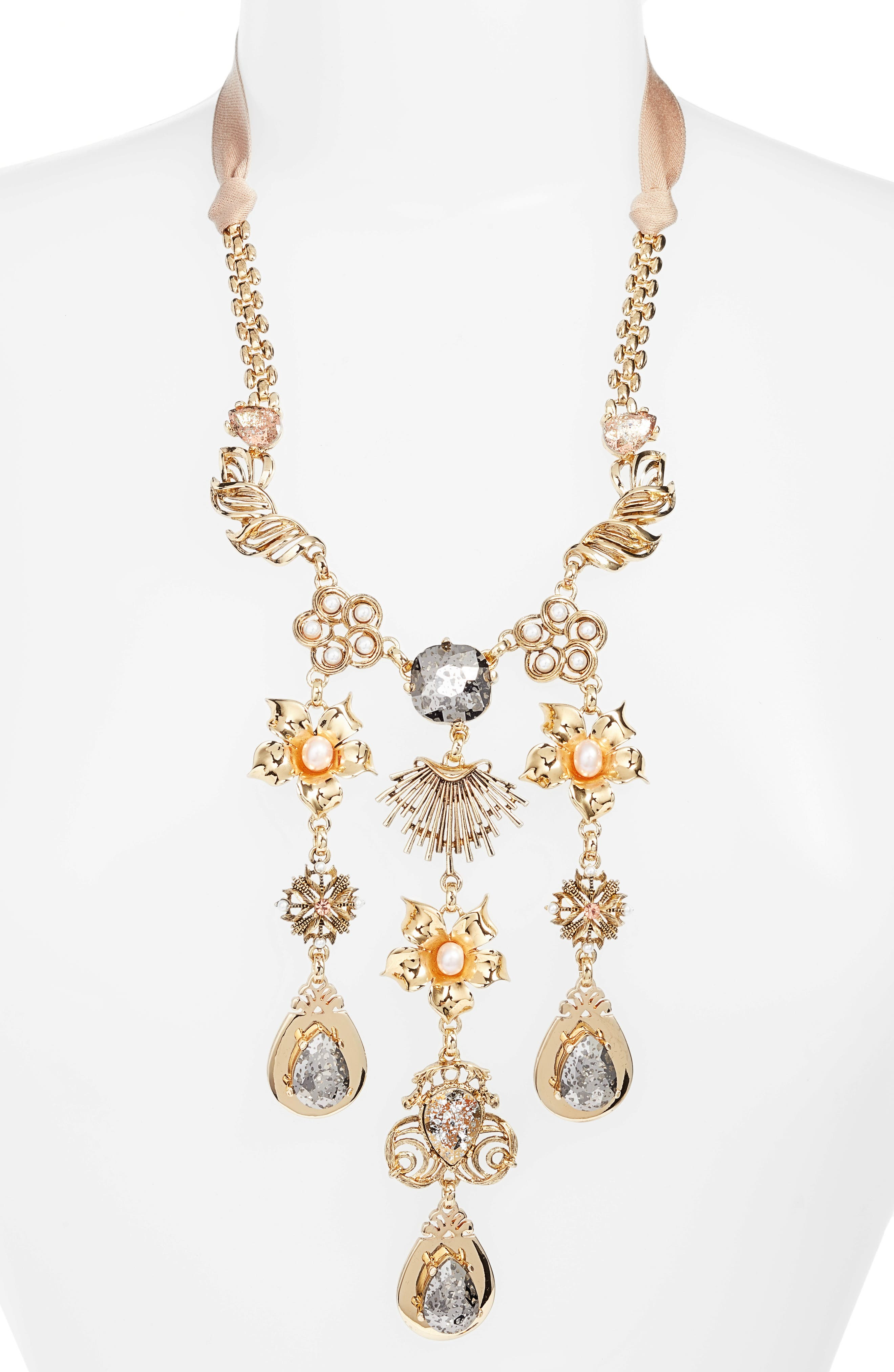 Crystal & Freshwater Pearl Collar Necklace,                             Alternate thumbnail 2, color,                             GOLD