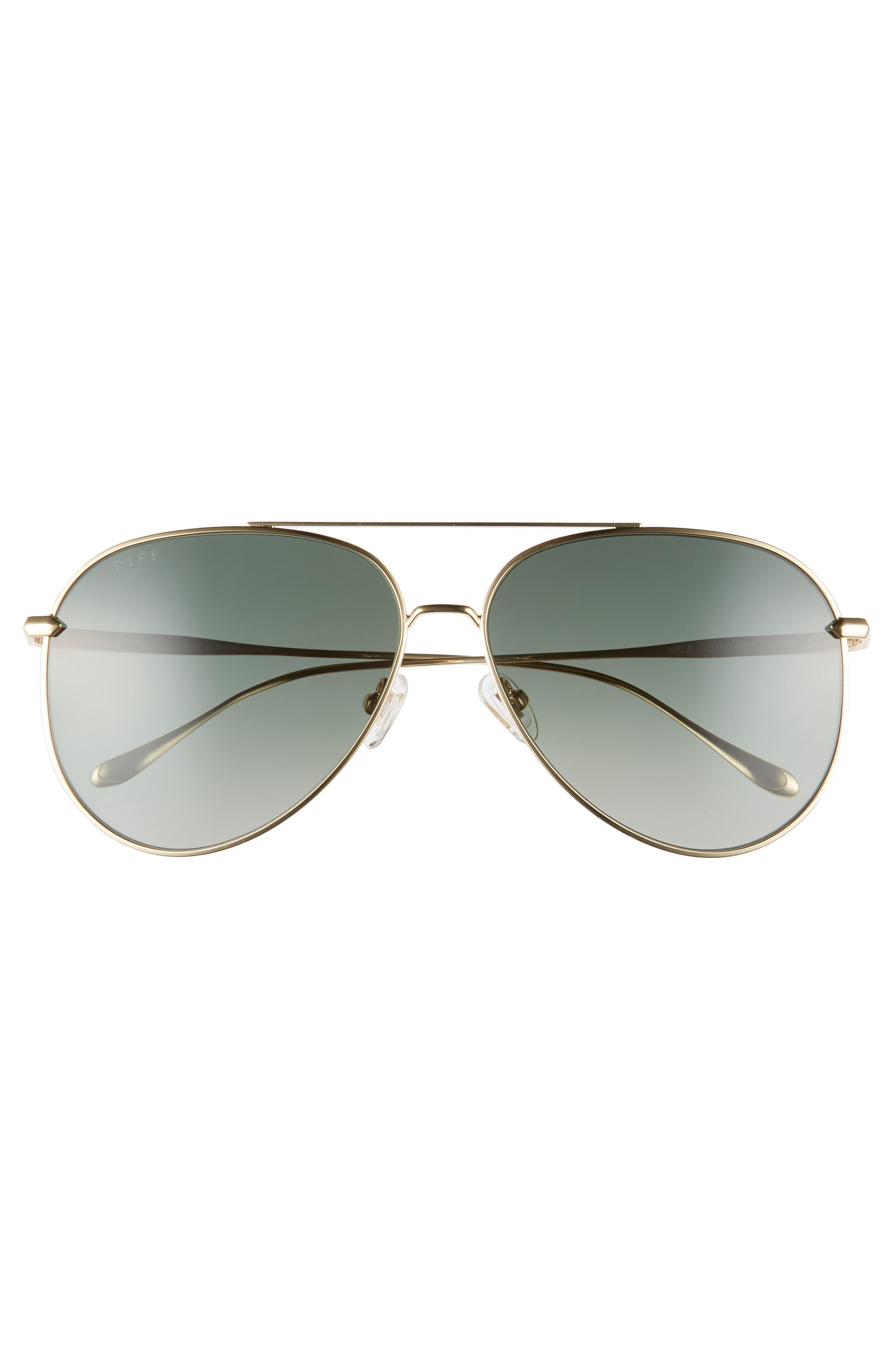Nala 63mm Oversize Polarized Aviator Sunglasses,                             Alternate thumbnail 3, color,                             GOLD/ G15