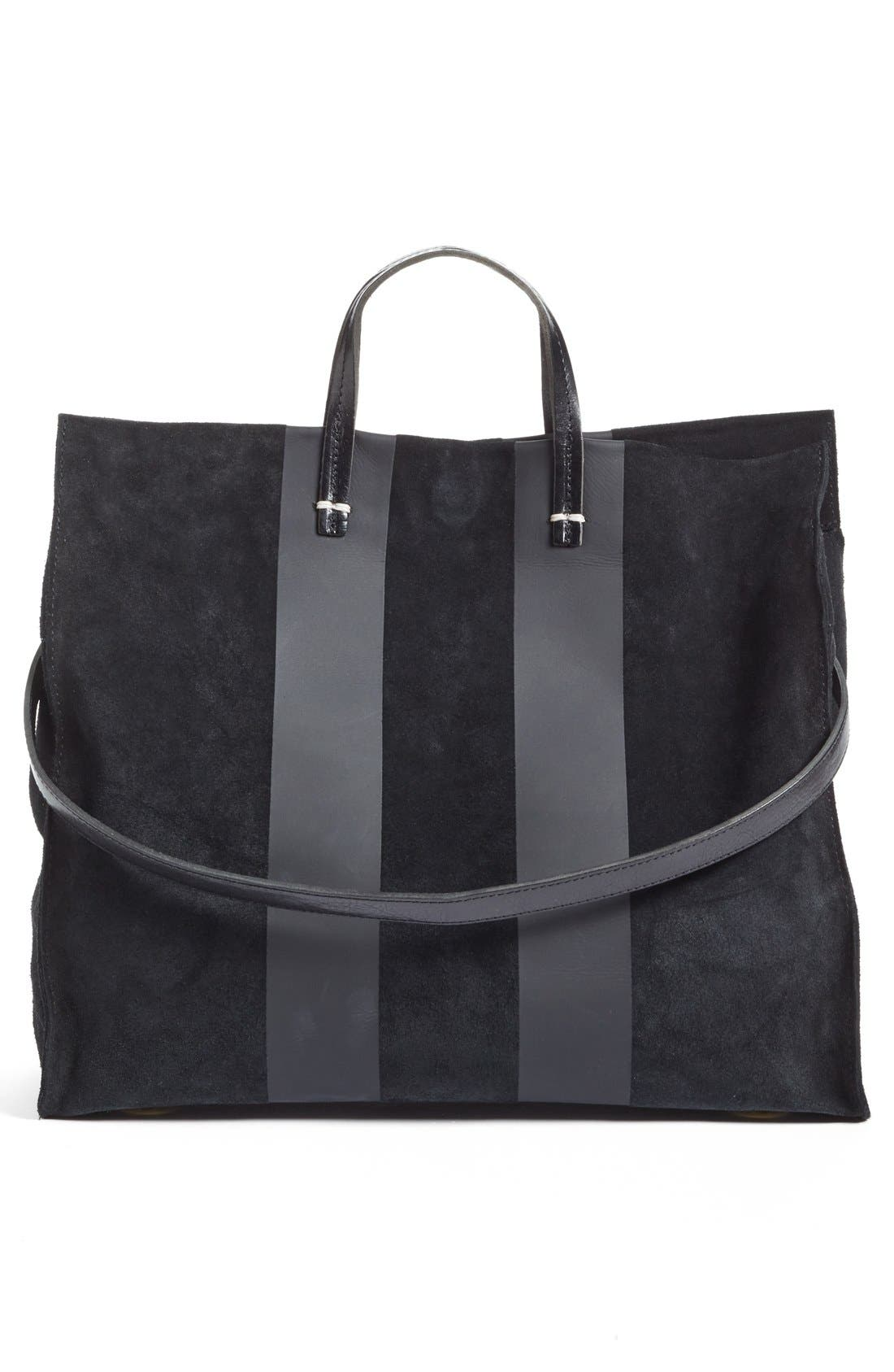 'Simple' Stripe Leather Tote,                             Alternate thumbnail 5, color,                             002
