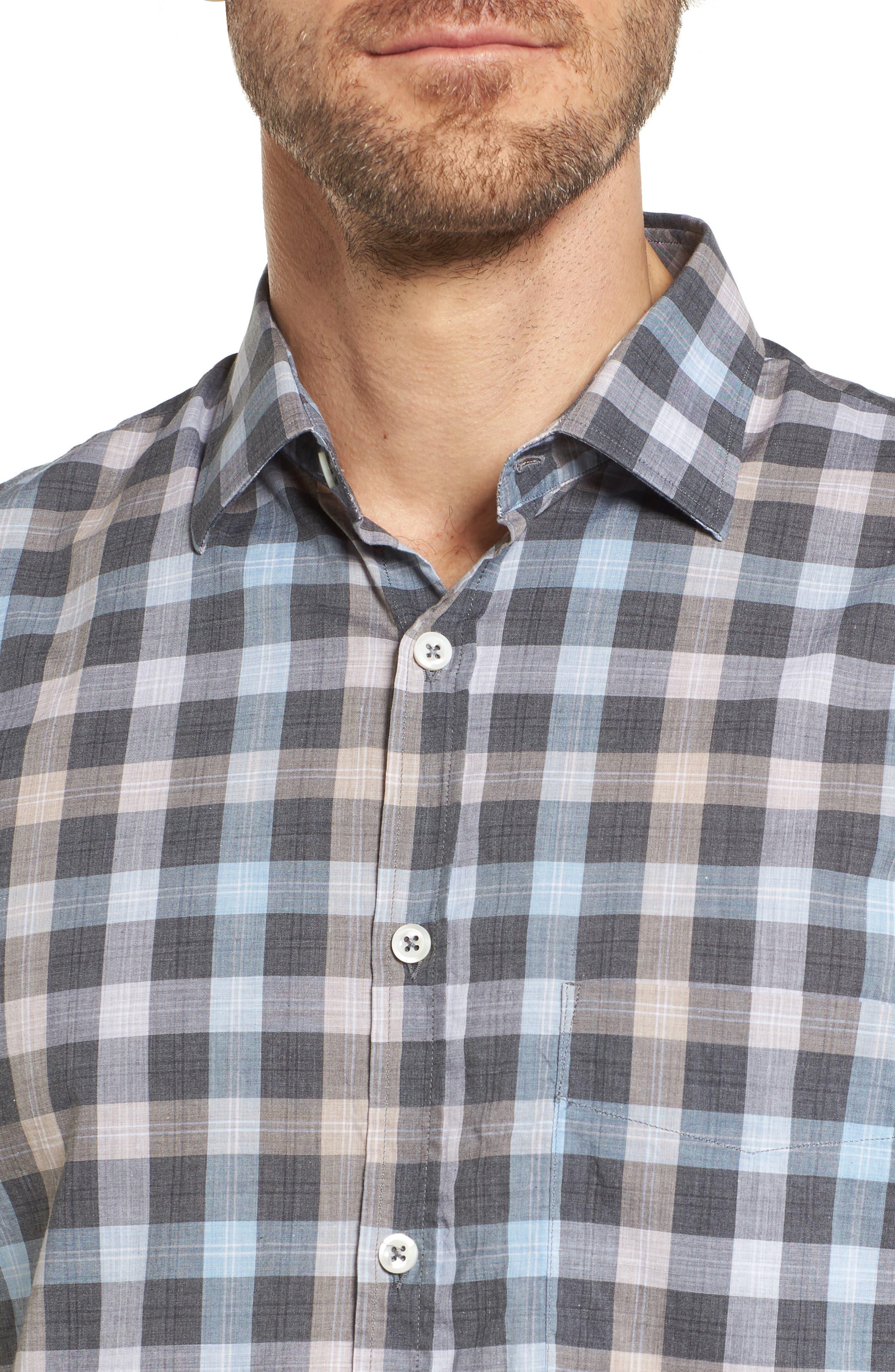John T Standard Fit Check Sport Shirt,                             Alternate thumbnail 4, color,                             400