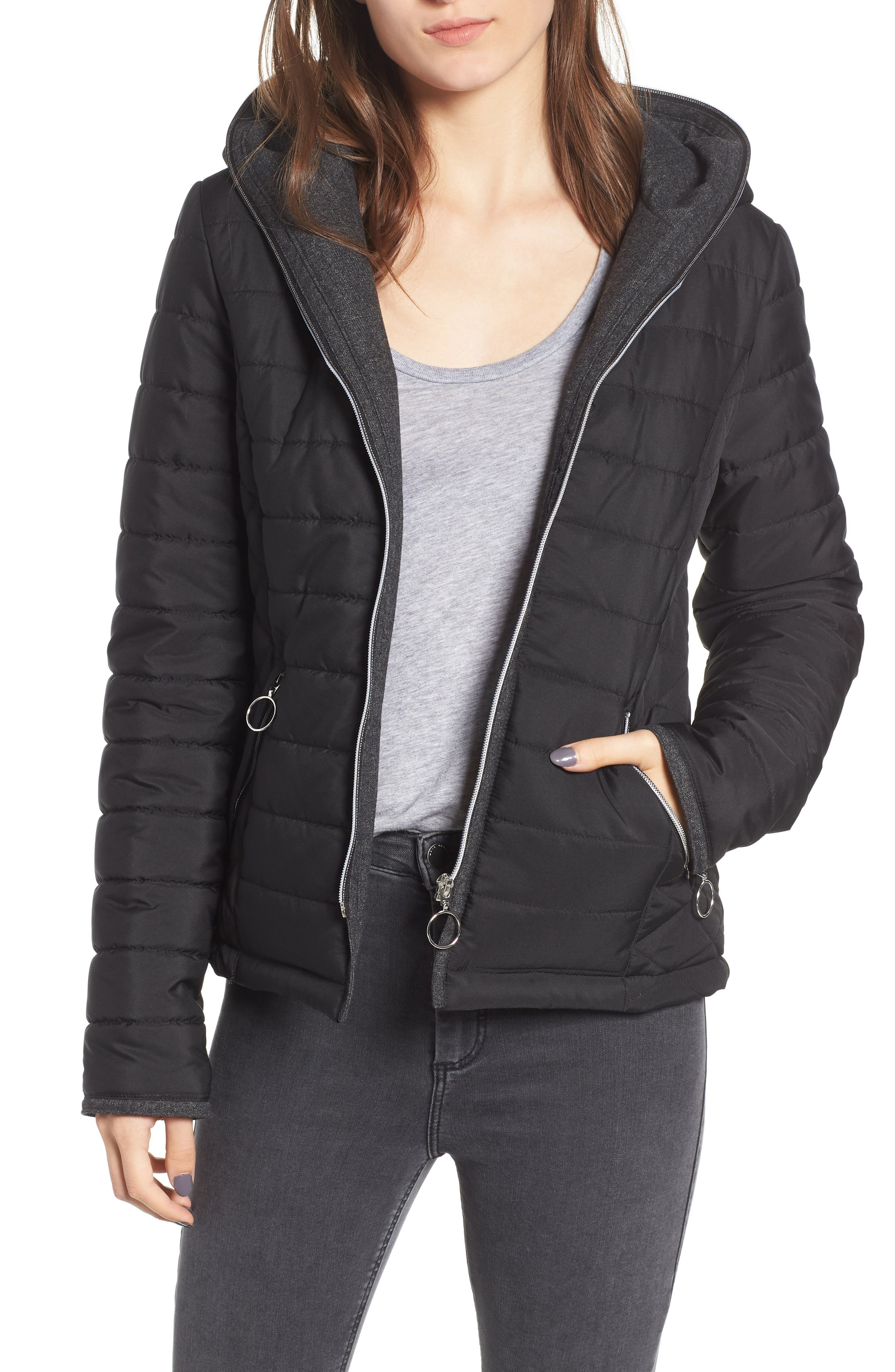 Hooded Quilted Jacket,                         Main,                         color, BLACK