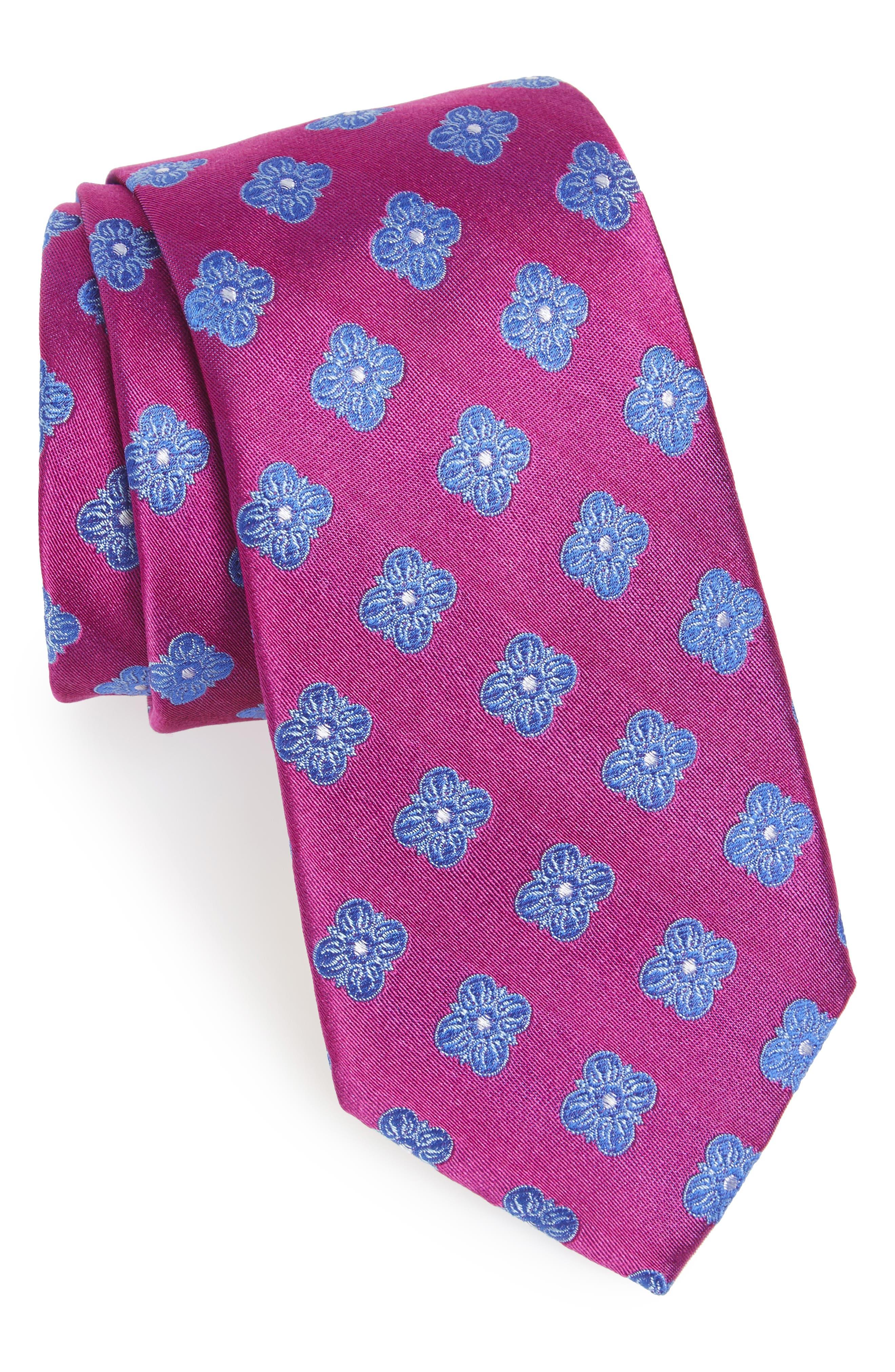 Cameron Floral Medallion Silk Tie,                             Main thumbnail 5, color,