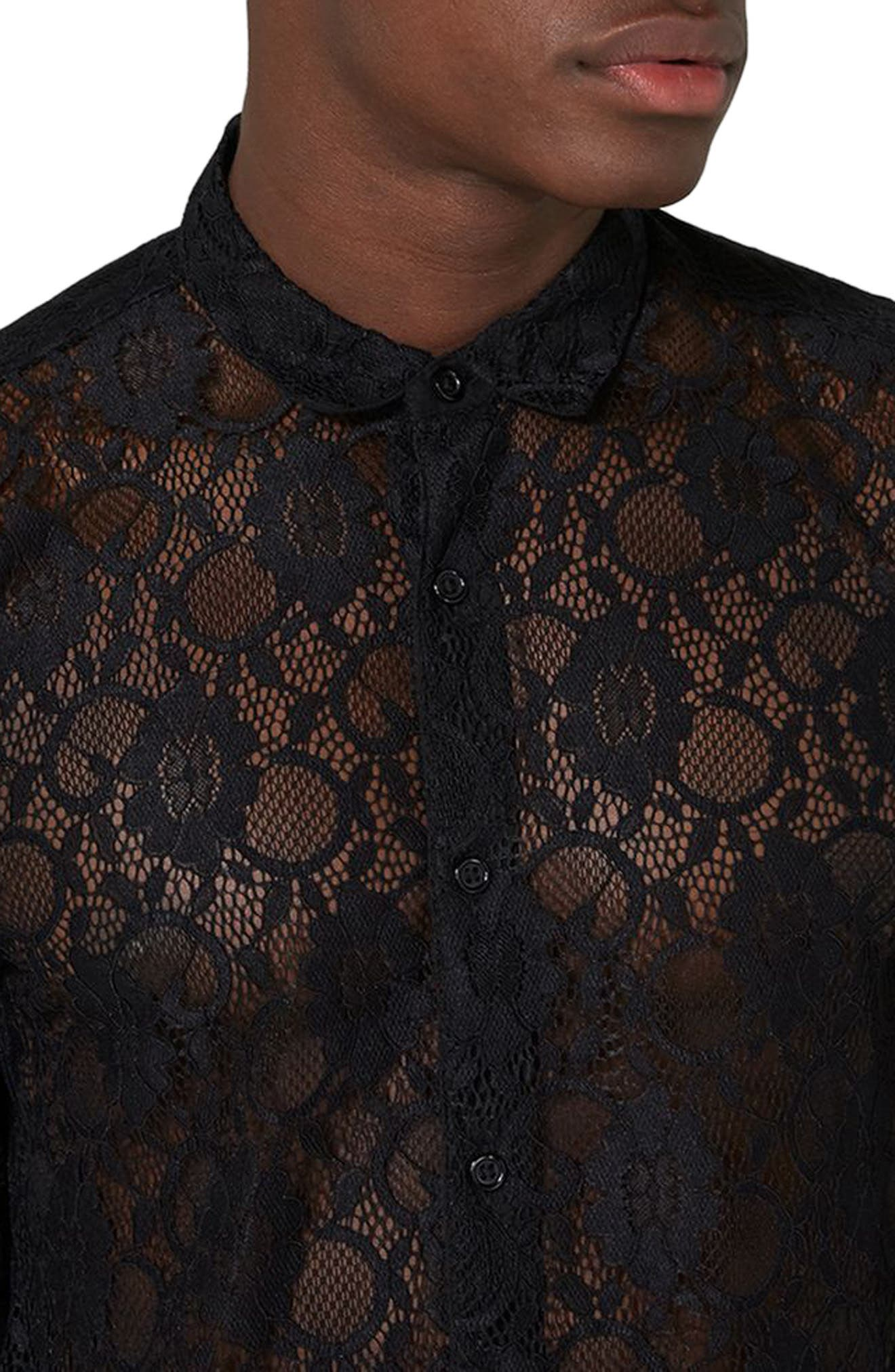 Muscle Fit Sheer Lace Shirt,                             Alternate thumbnail 3, color,                             001