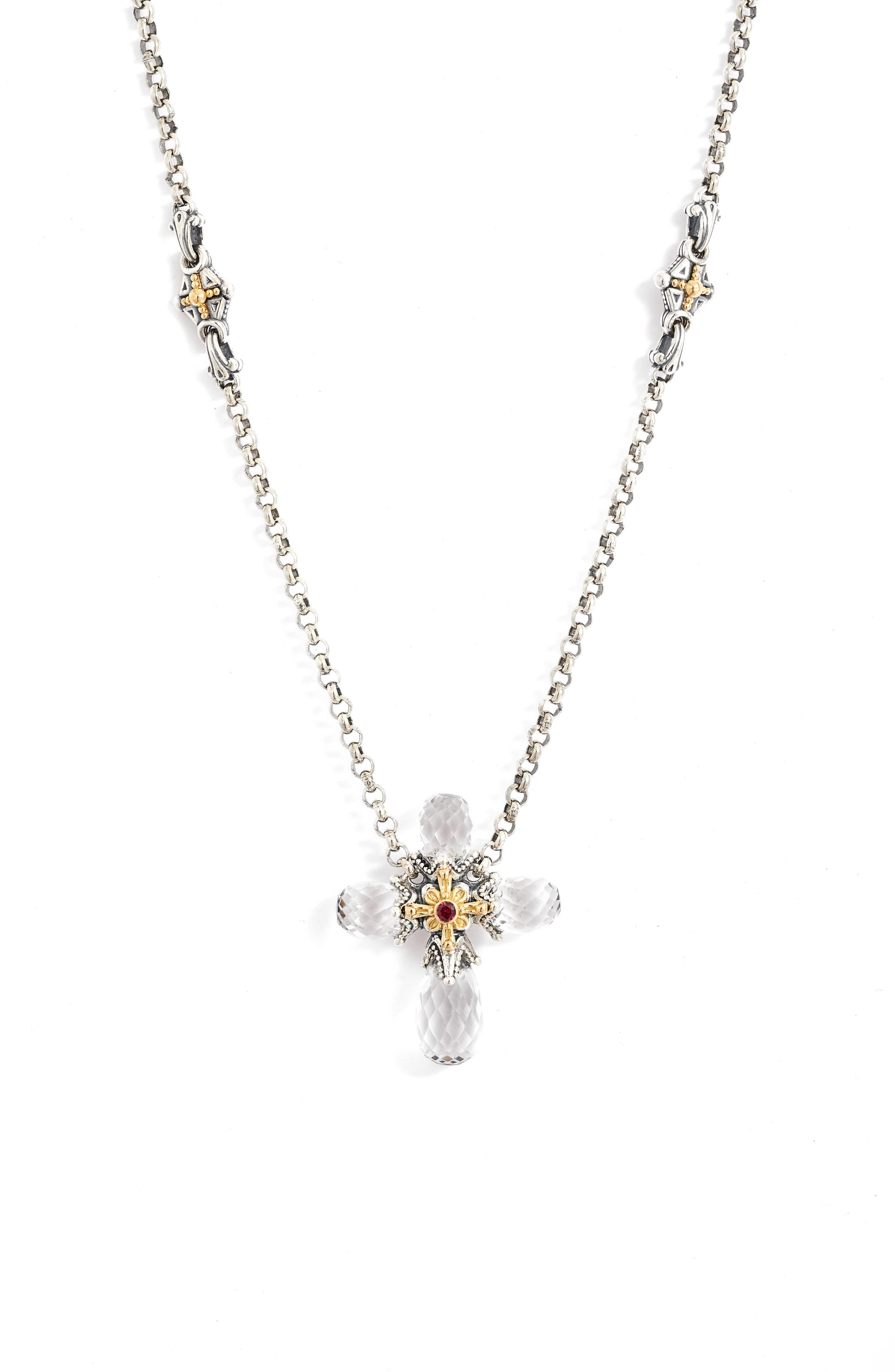 Pythia Faceted Crystal Cross Pendant Necklace in Silver/ Crystal