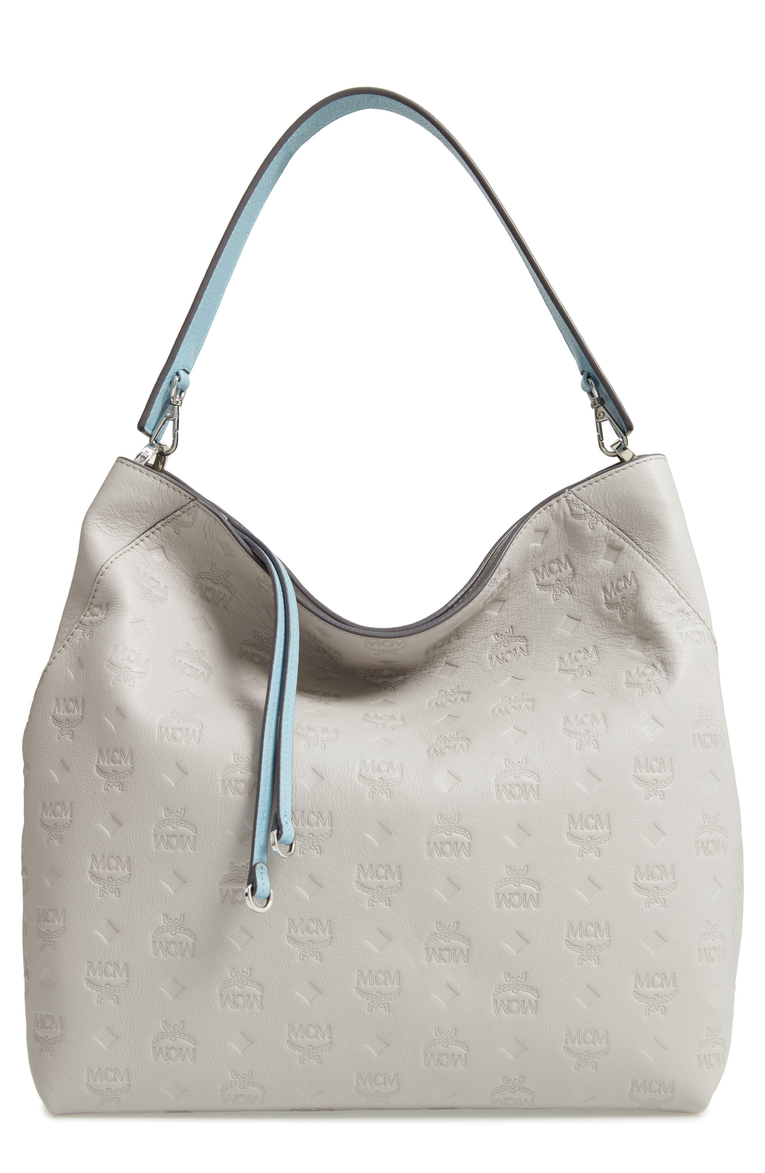 Klara Monogrammed Leather Hobo Bag,                             Main thumbnail 1, color,                             DOVE