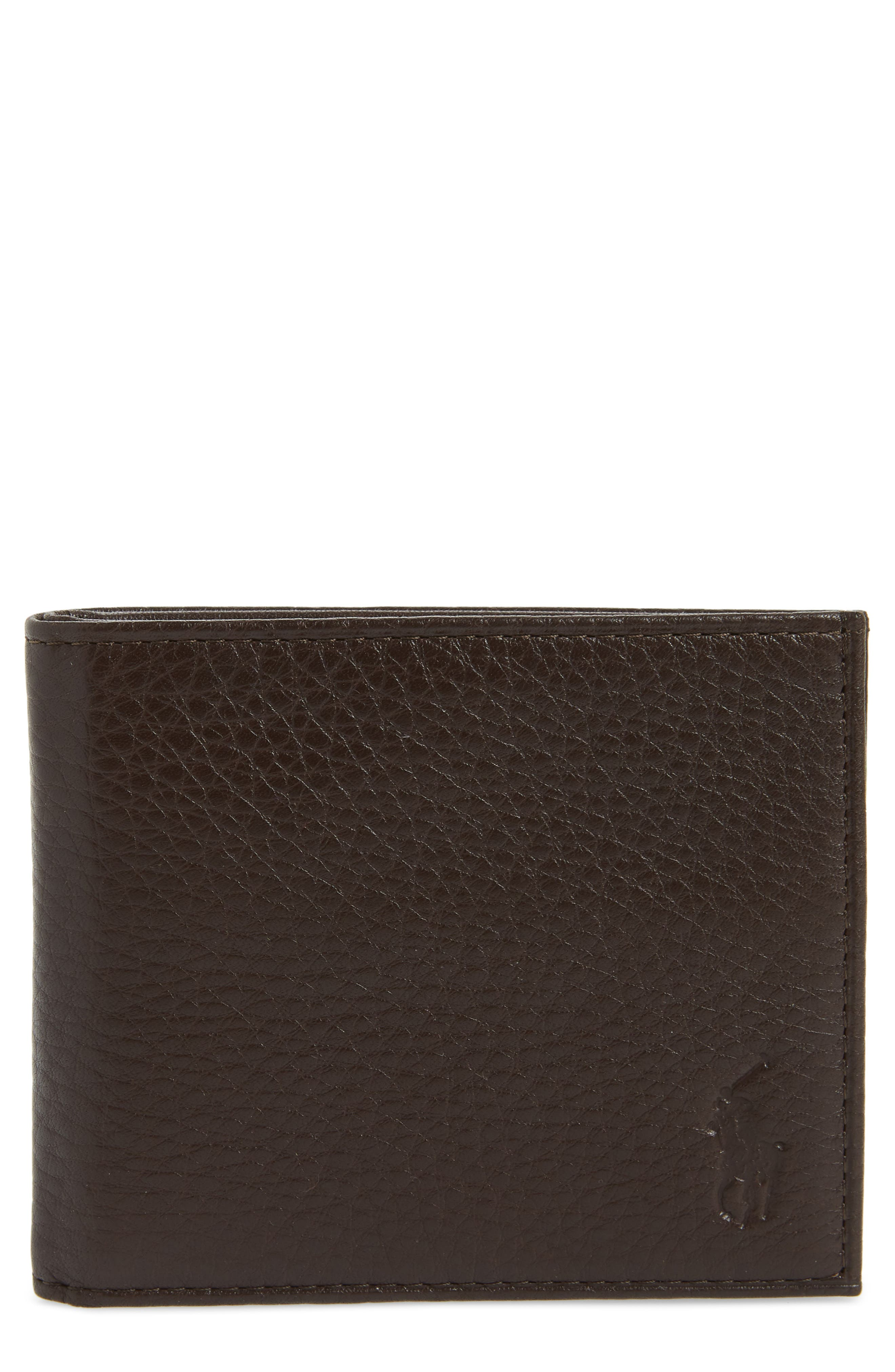 Bifold Leather Wallet,                             Main thumbnail 1, color,                             BROWN