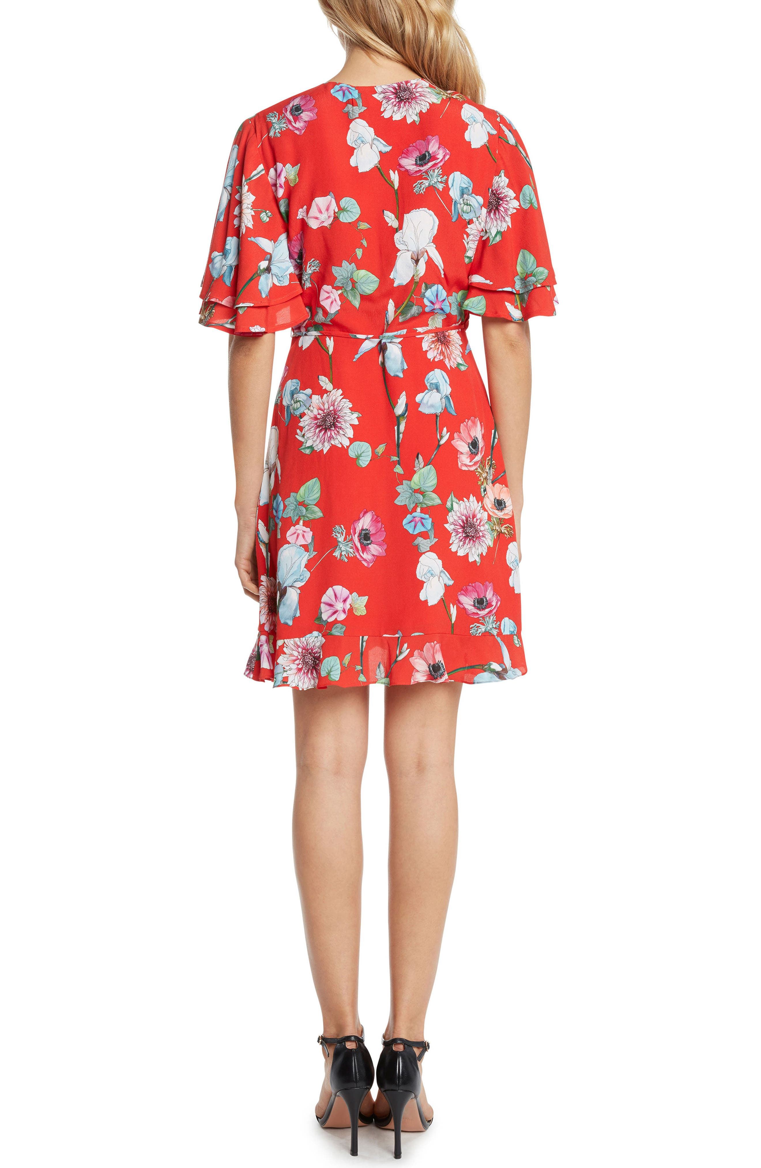 Floral Wrap Dress,                             Alternate thumbnail 2, color,                             609
