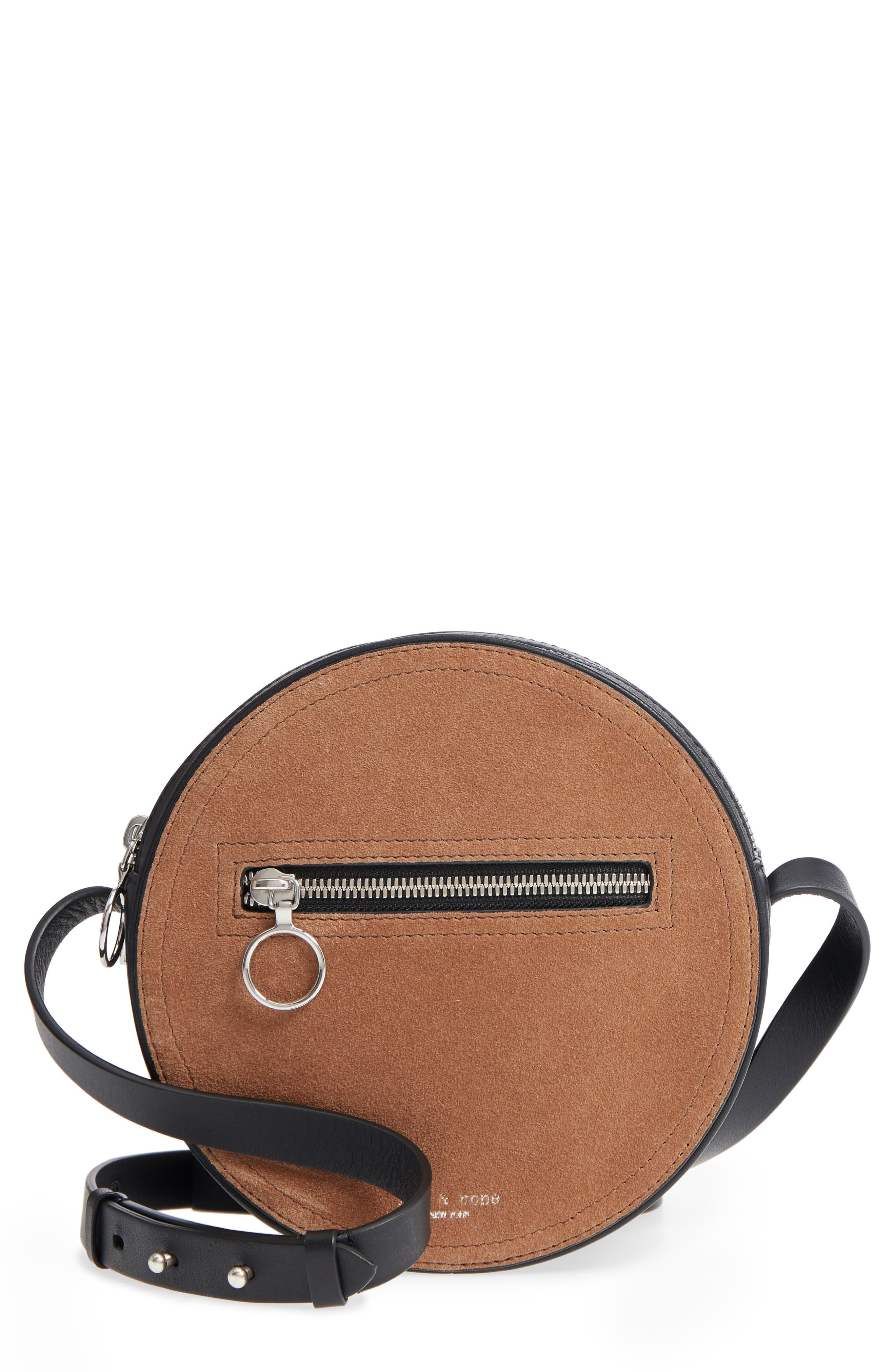 Suede & Leather Circle Crossbody Bag, Main, color, 200