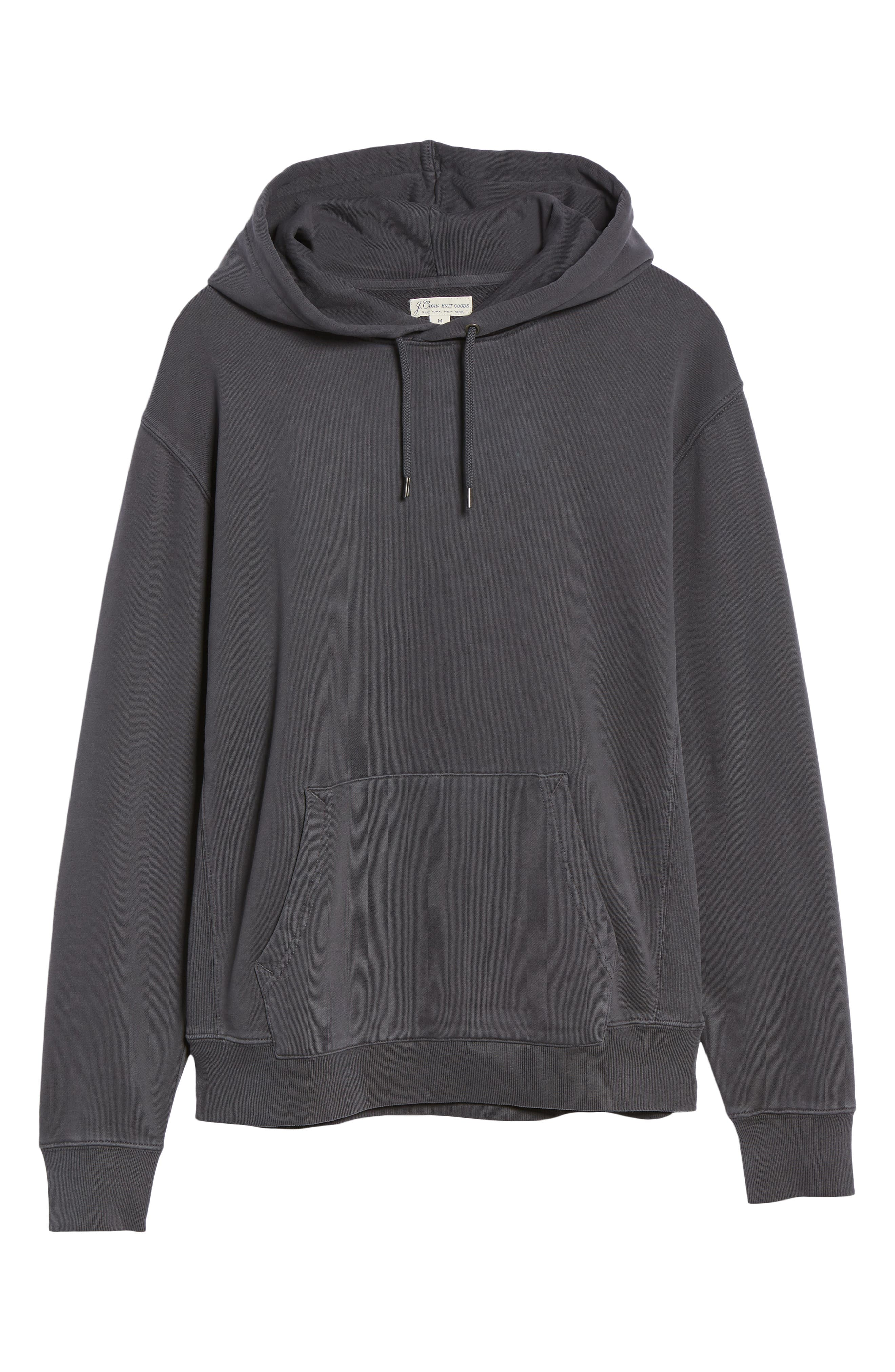 Garment Dyed French Terry Hoodie,                             Alternate thumbnail 6, color,                             WASHED OUT BLACK