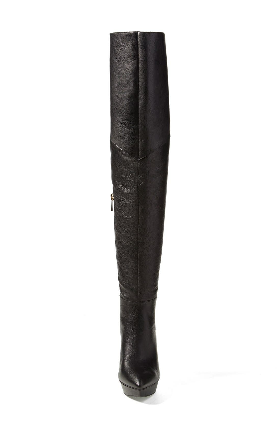 'Valentia' Over the Knee Platform Boot,                             Alternate thumbnail 4, color,                             001