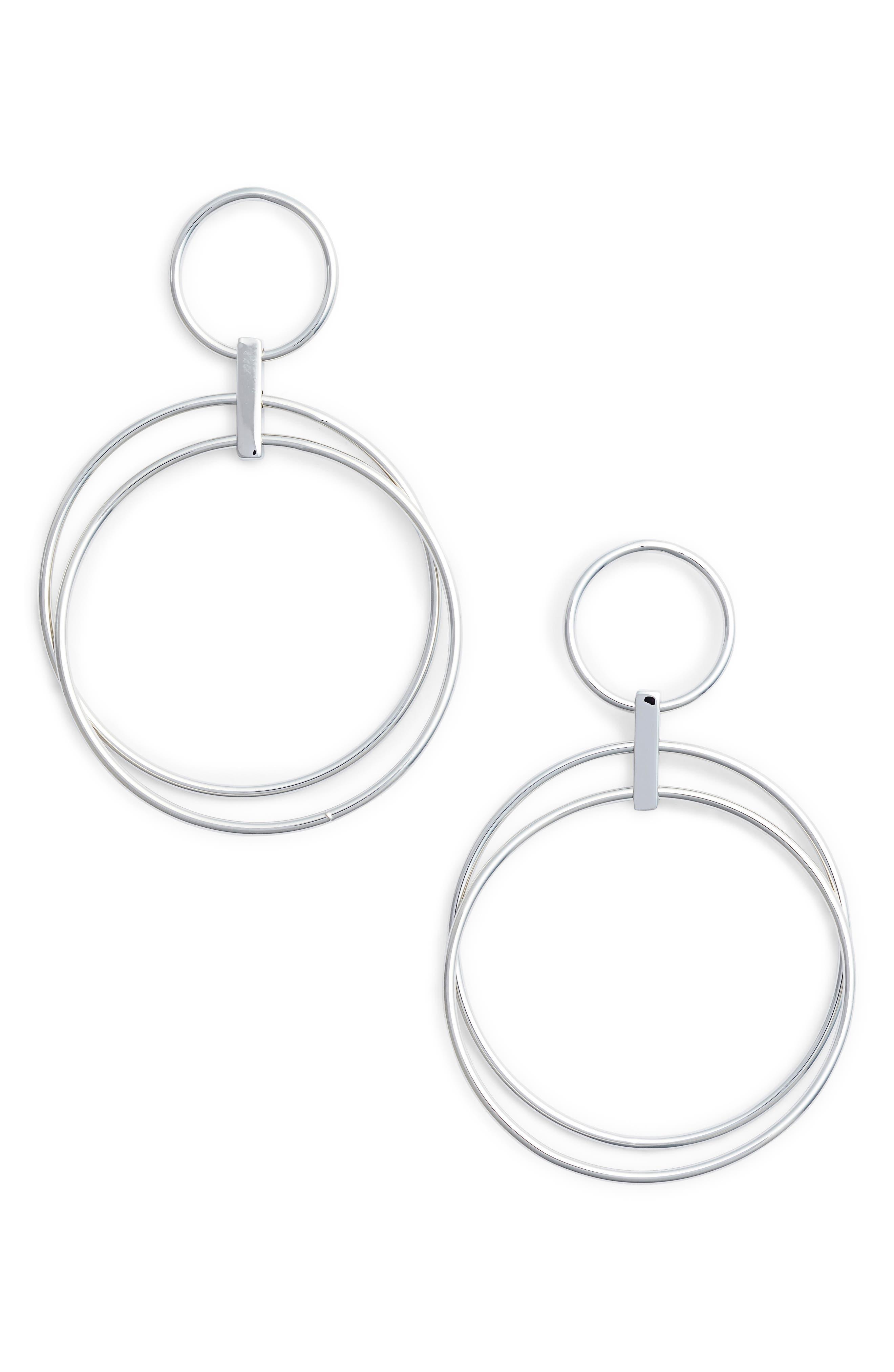 Multi Ring Hoop Earrings,                         Main,                         color, RHODIUM