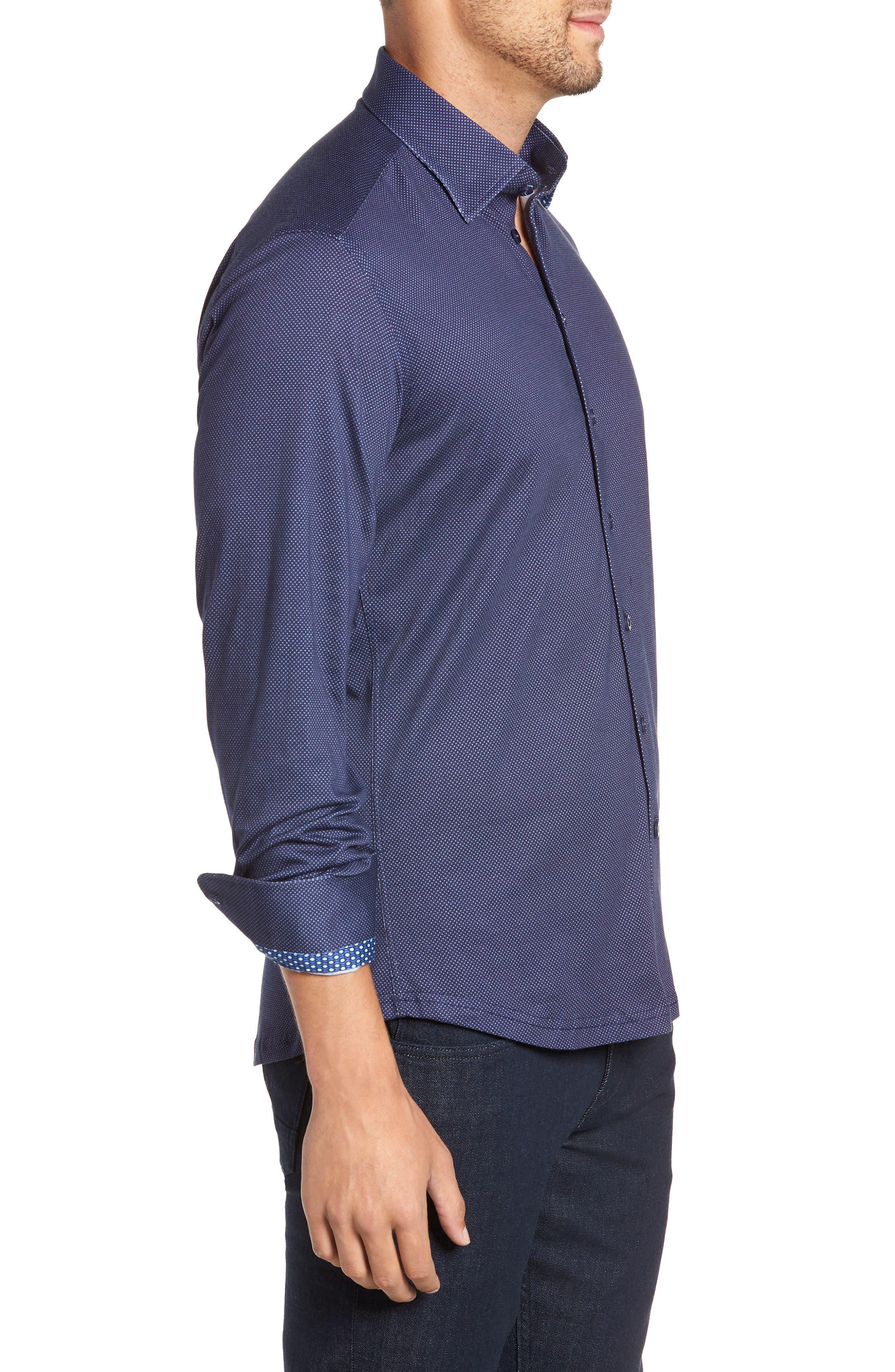 Trim Fit Knit Sport Shirt,                             Alternate thumbnail 4, color,                             NAVY
