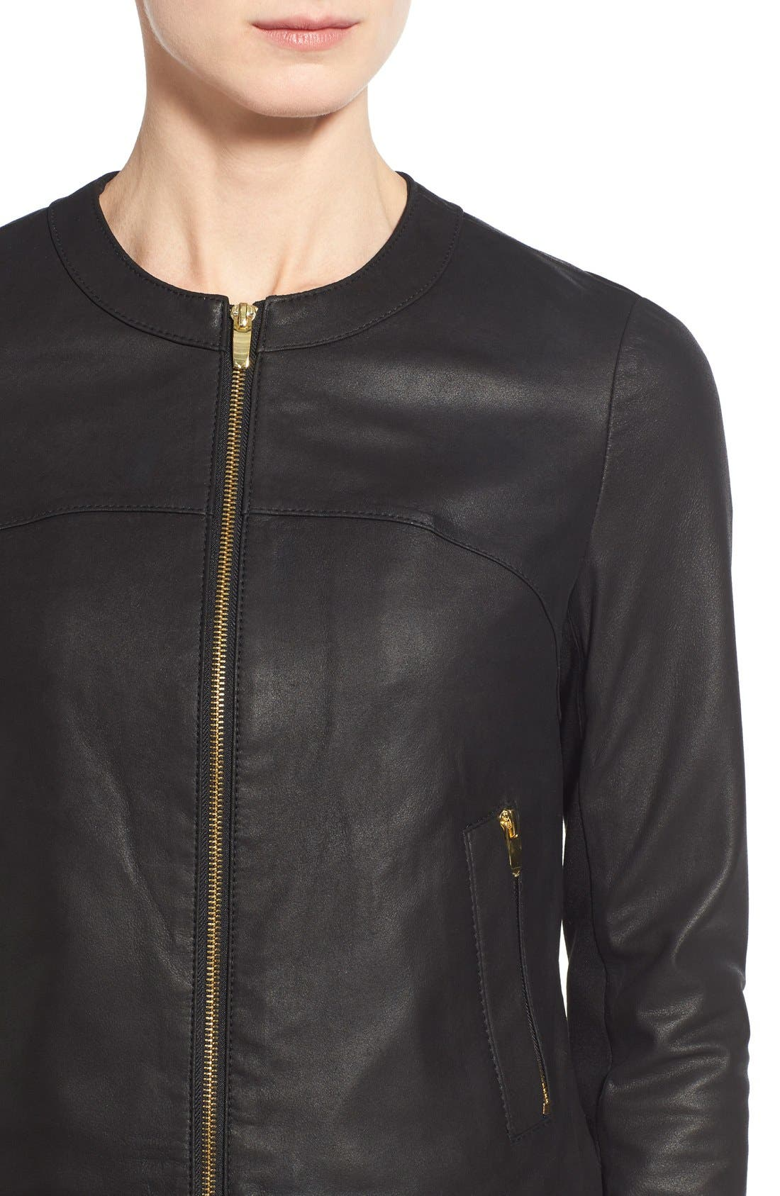 Lambskin Leather & Knit Zip Front Collarless Jacket,                             Alternate thumbnail 5, color,                             001