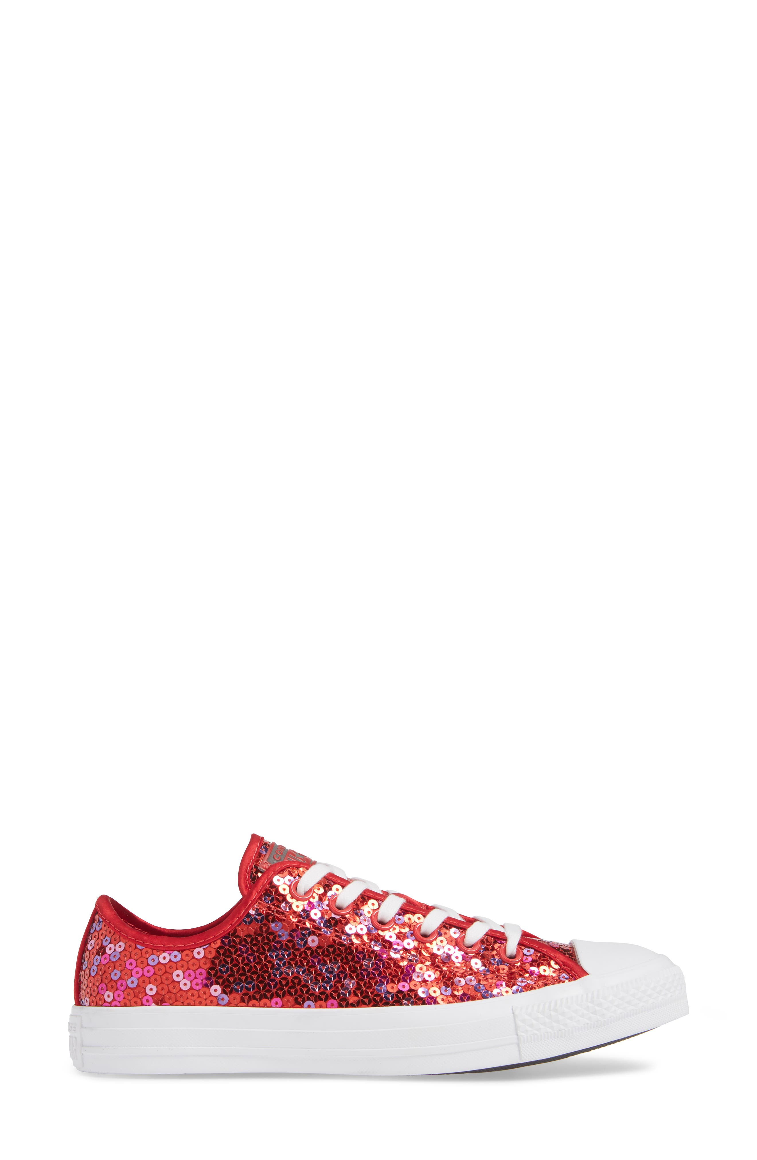 Chuck Taylor<sup>®</sup> All Star<sup>®</sup> Sequin Low Top Sneaker,                             Alternate thumbnail 3, color,                             RED CHERRY SEQUINS