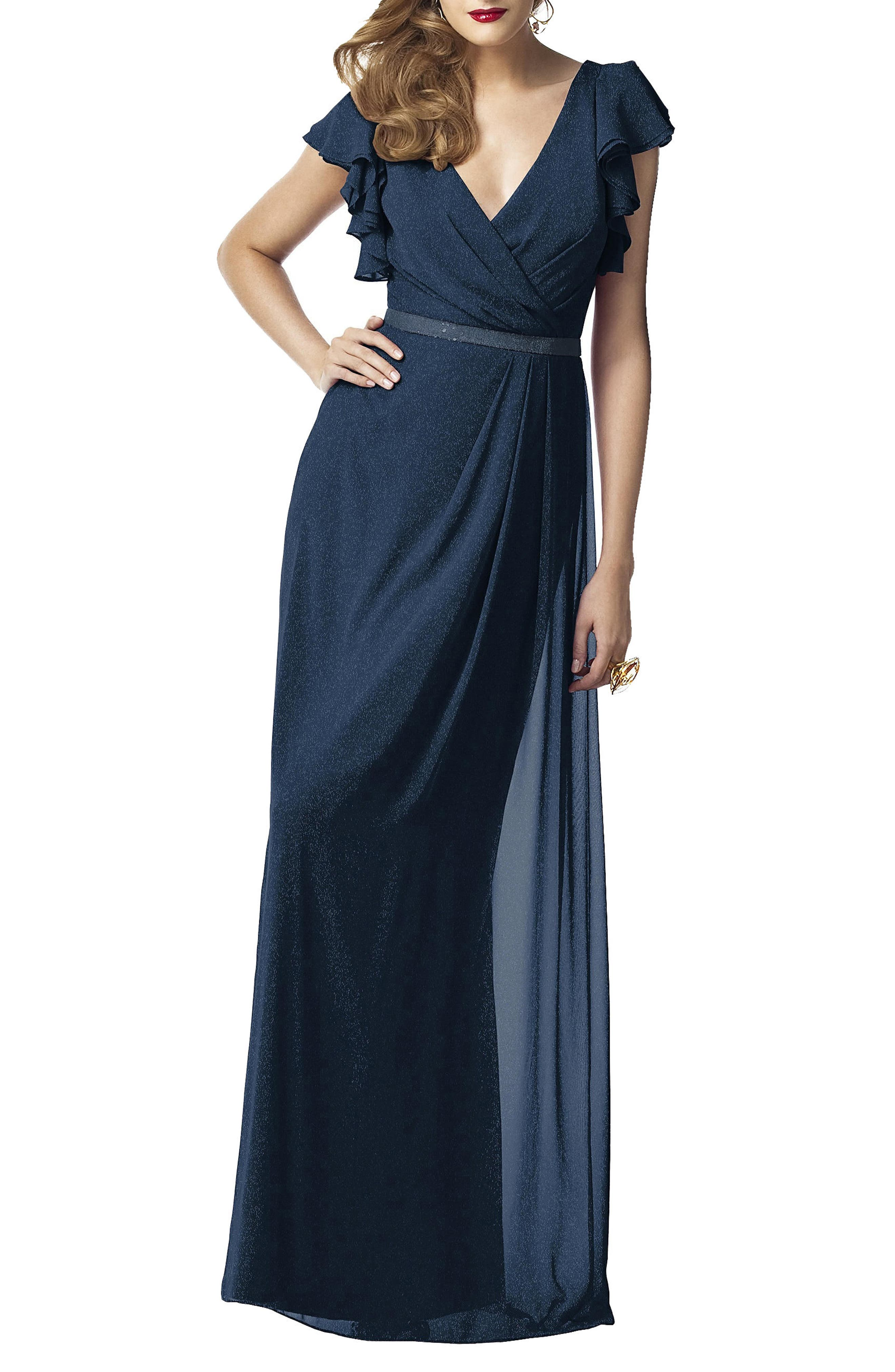 Dessy Collection Sequin Flutter Sleeve Gown, Blue