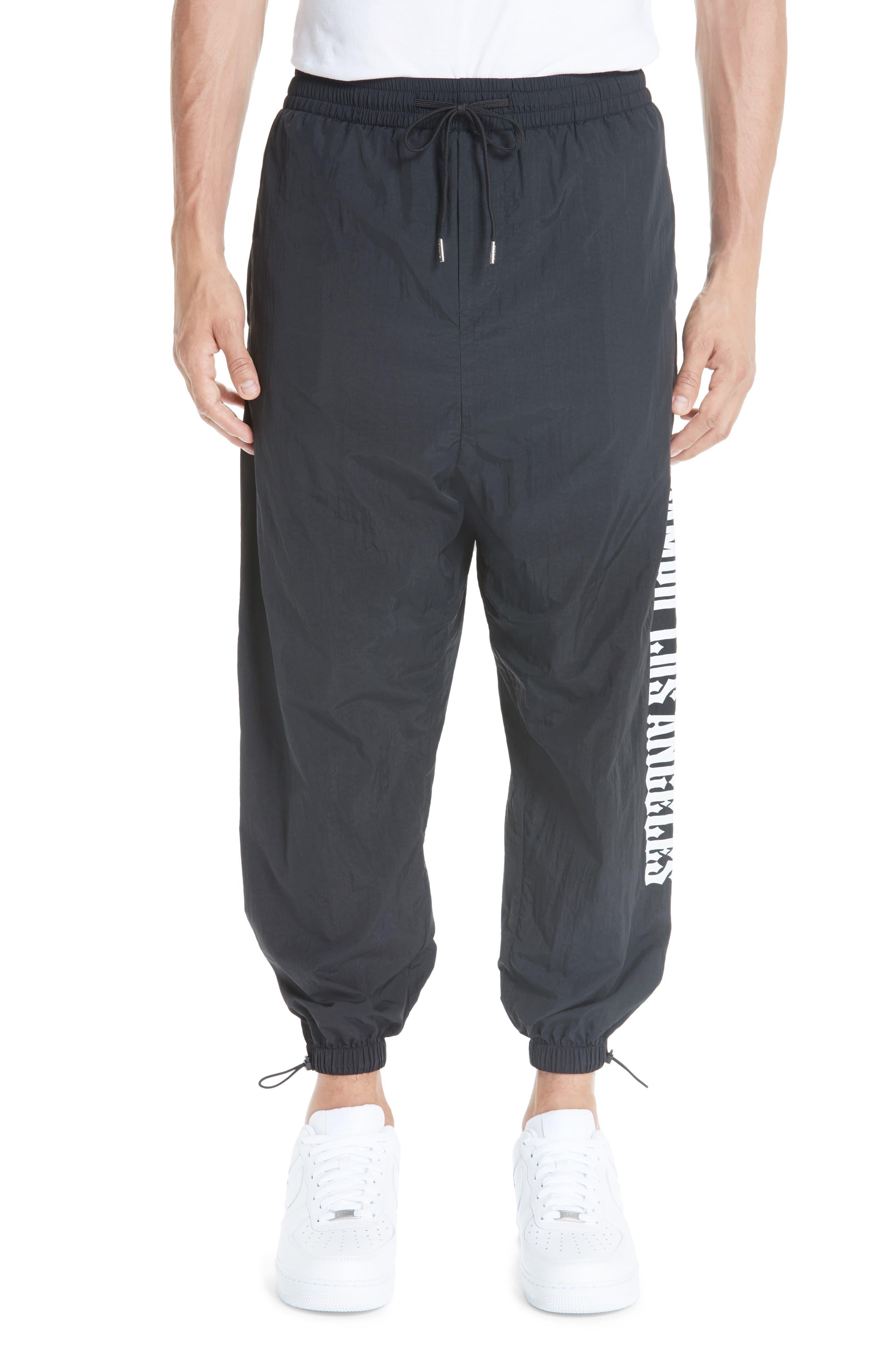 Nylon Chopper Pants,                         Main,                         color, BLACK