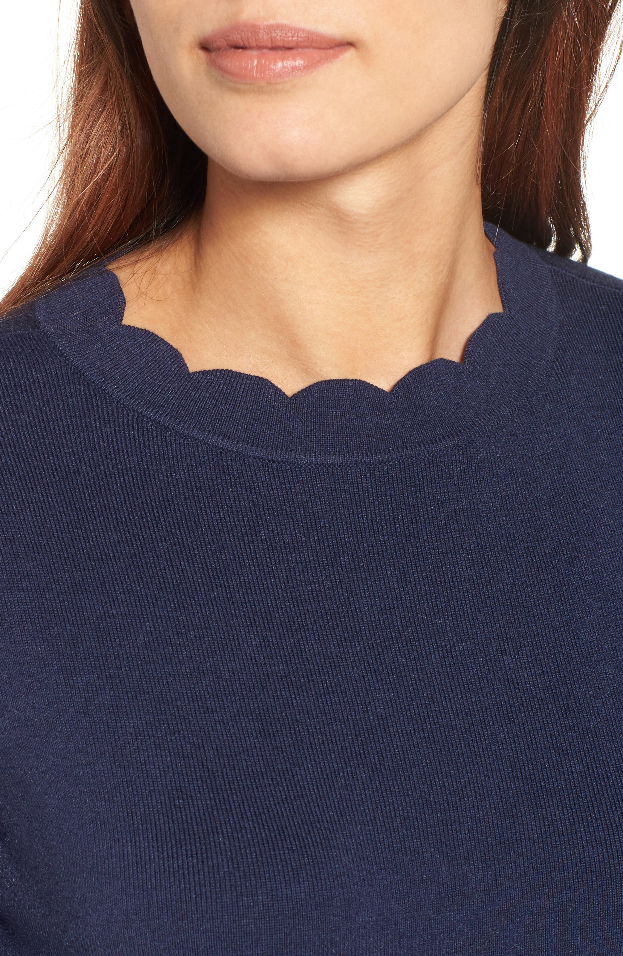 Halogen Scallop Edge Sweater,                             Alternate thumbnail 39, color,