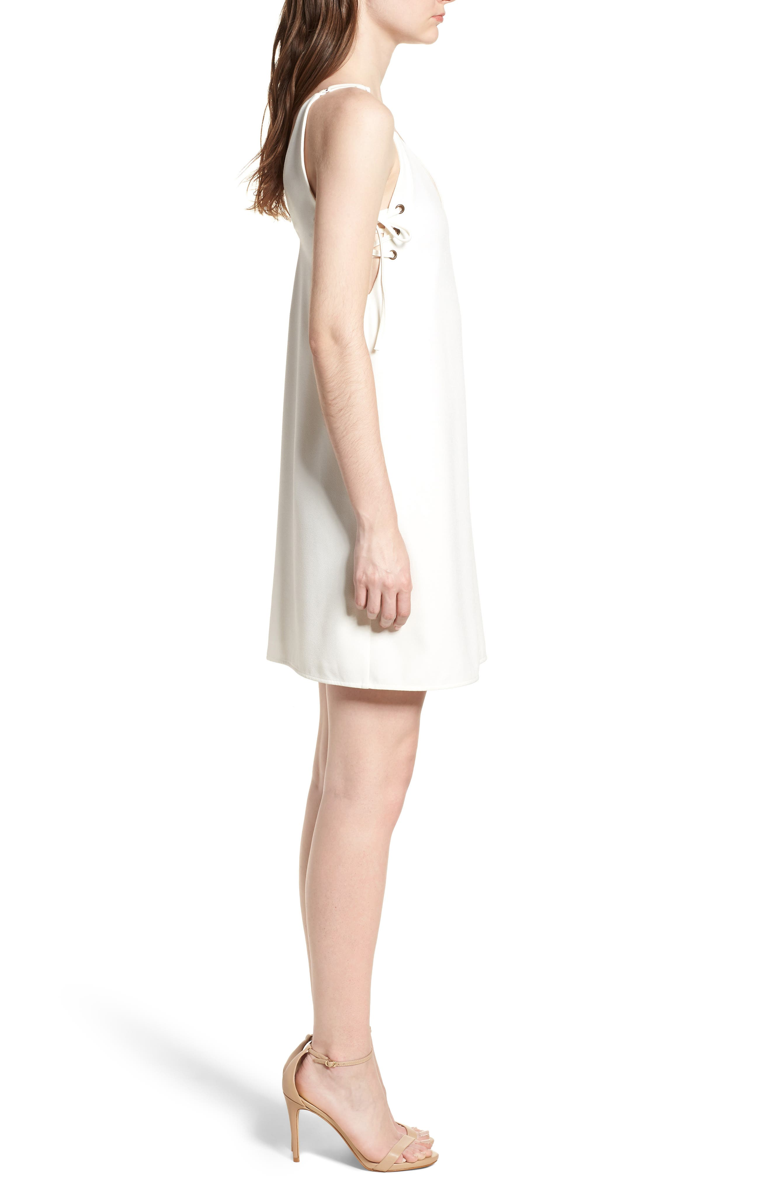 Bishop + Young Ana Lace-Up Shift Dress,                             Alternate thumbnail 3, color,                             100
