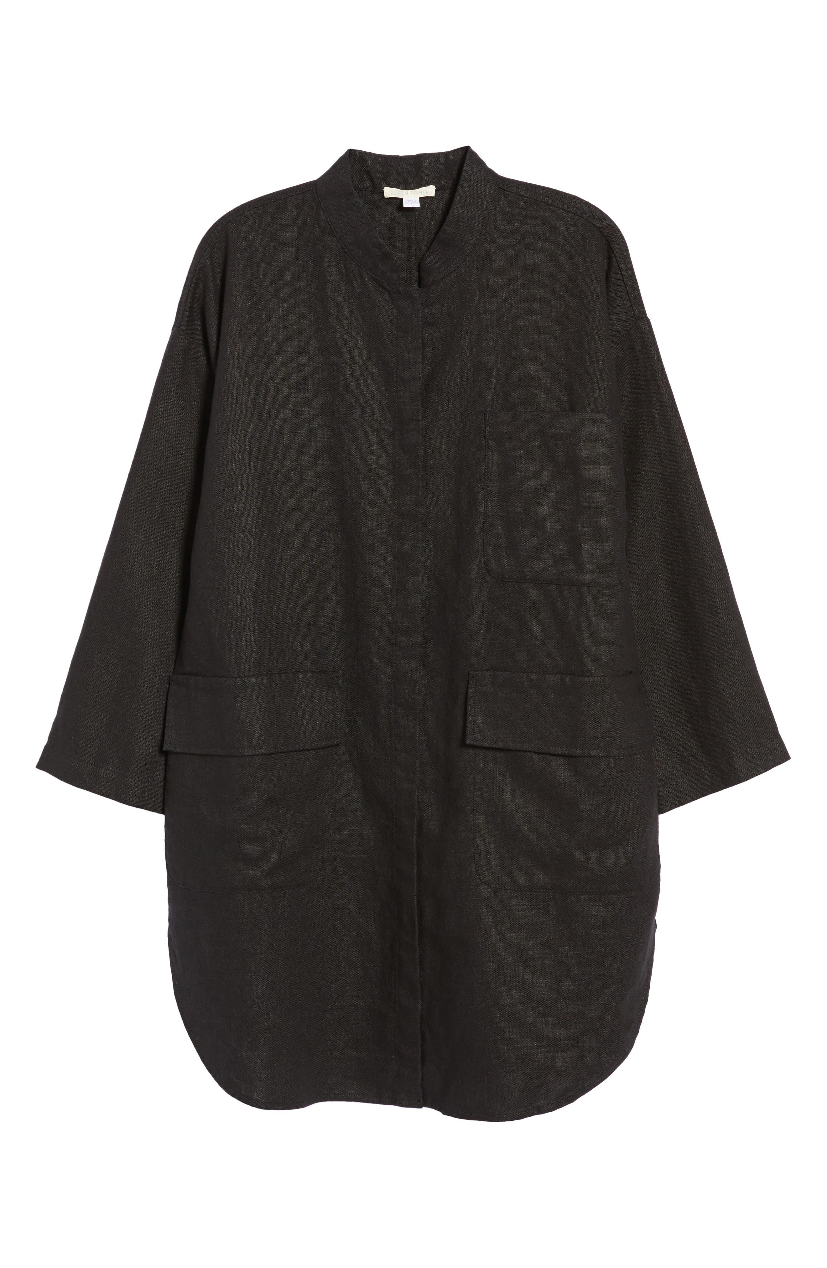 Organic Linen Jacket,                             Alternate thumbnail 6, color,                             001