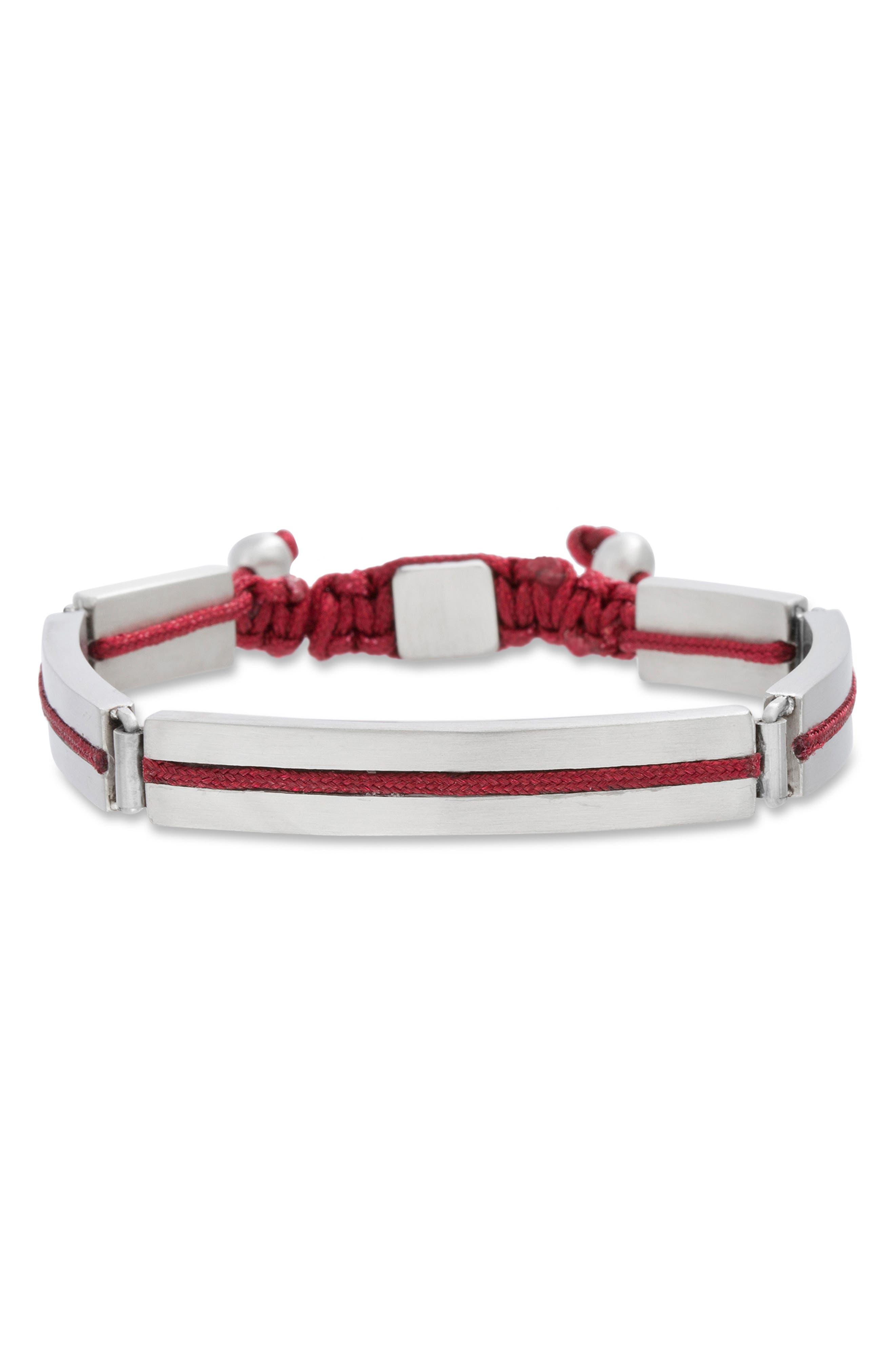 BEN SHERMAN Steel Cord Adjustable Bracelet in Red
