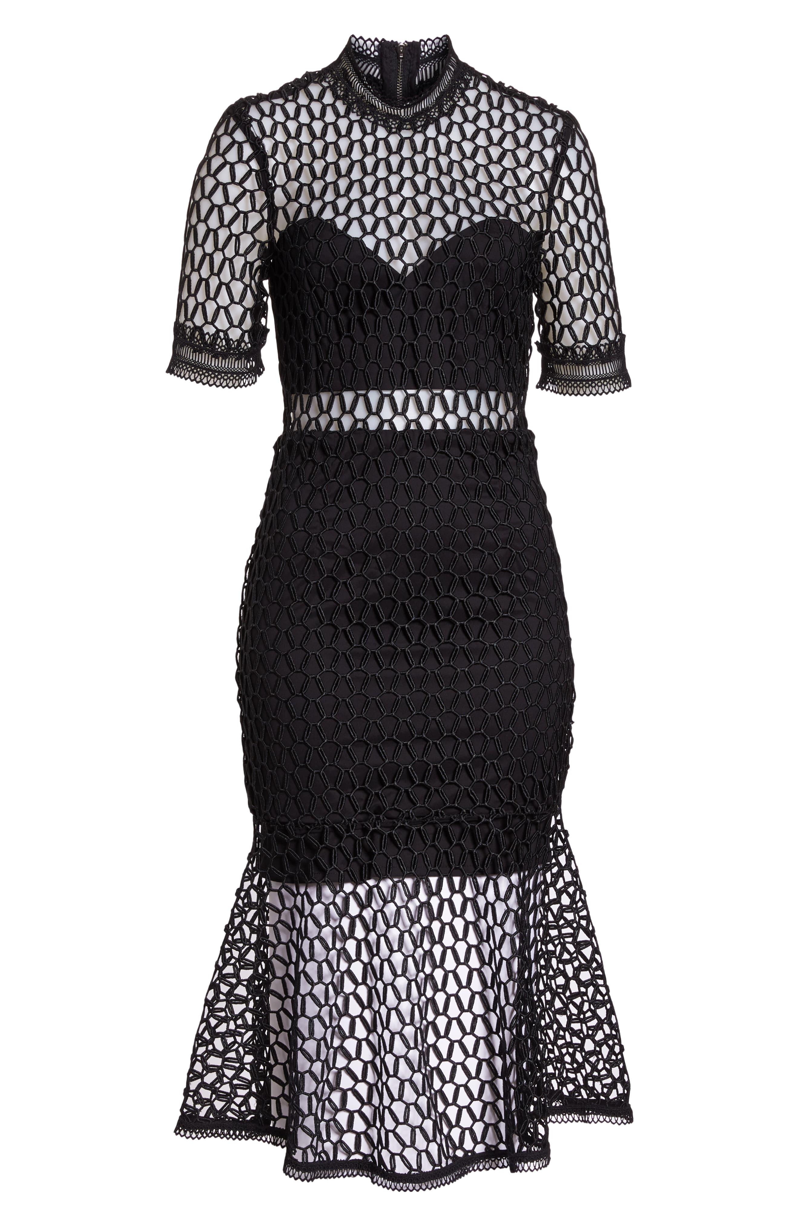 Fiona Mesh Lace Trumpet Dress,                             Alternate thumbnail 7, color,                             BLACK