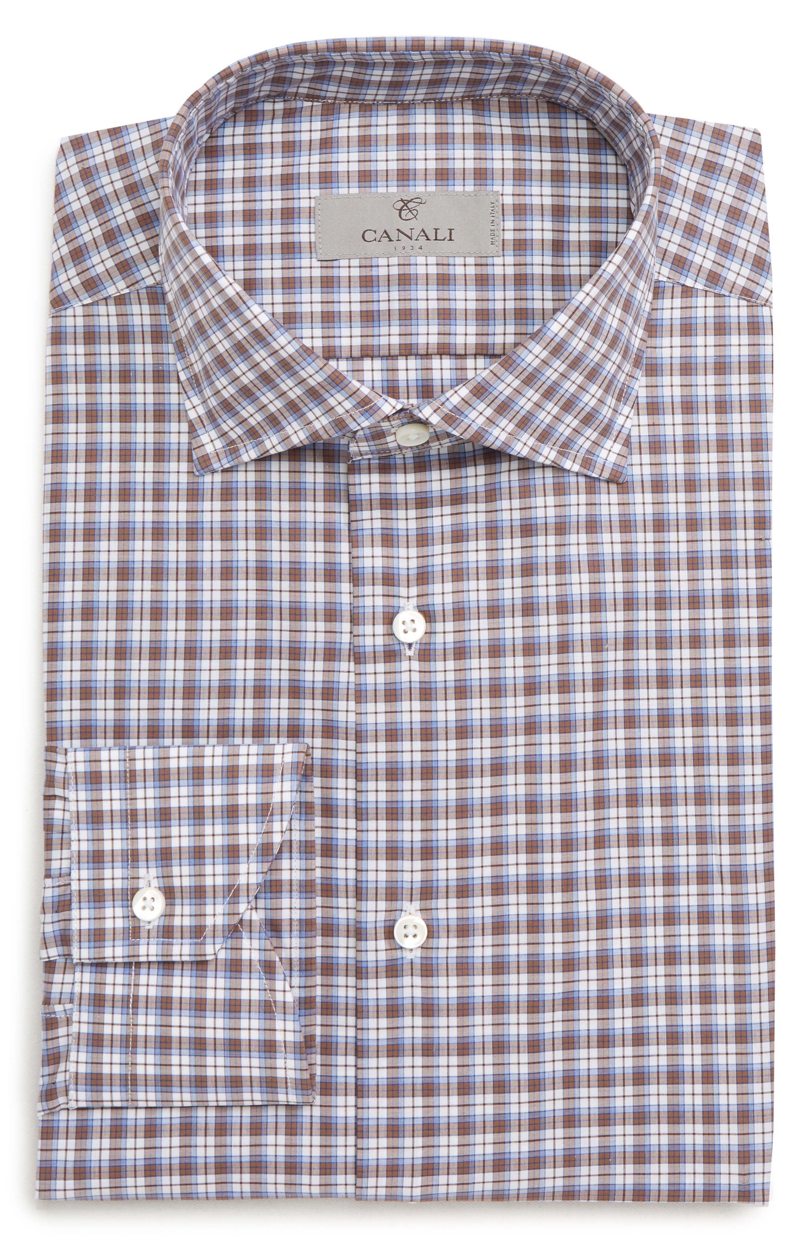 Trim Fit Plaid Dress Shirt,                             Alternate thumbnail 6, color,                             MED BROWN