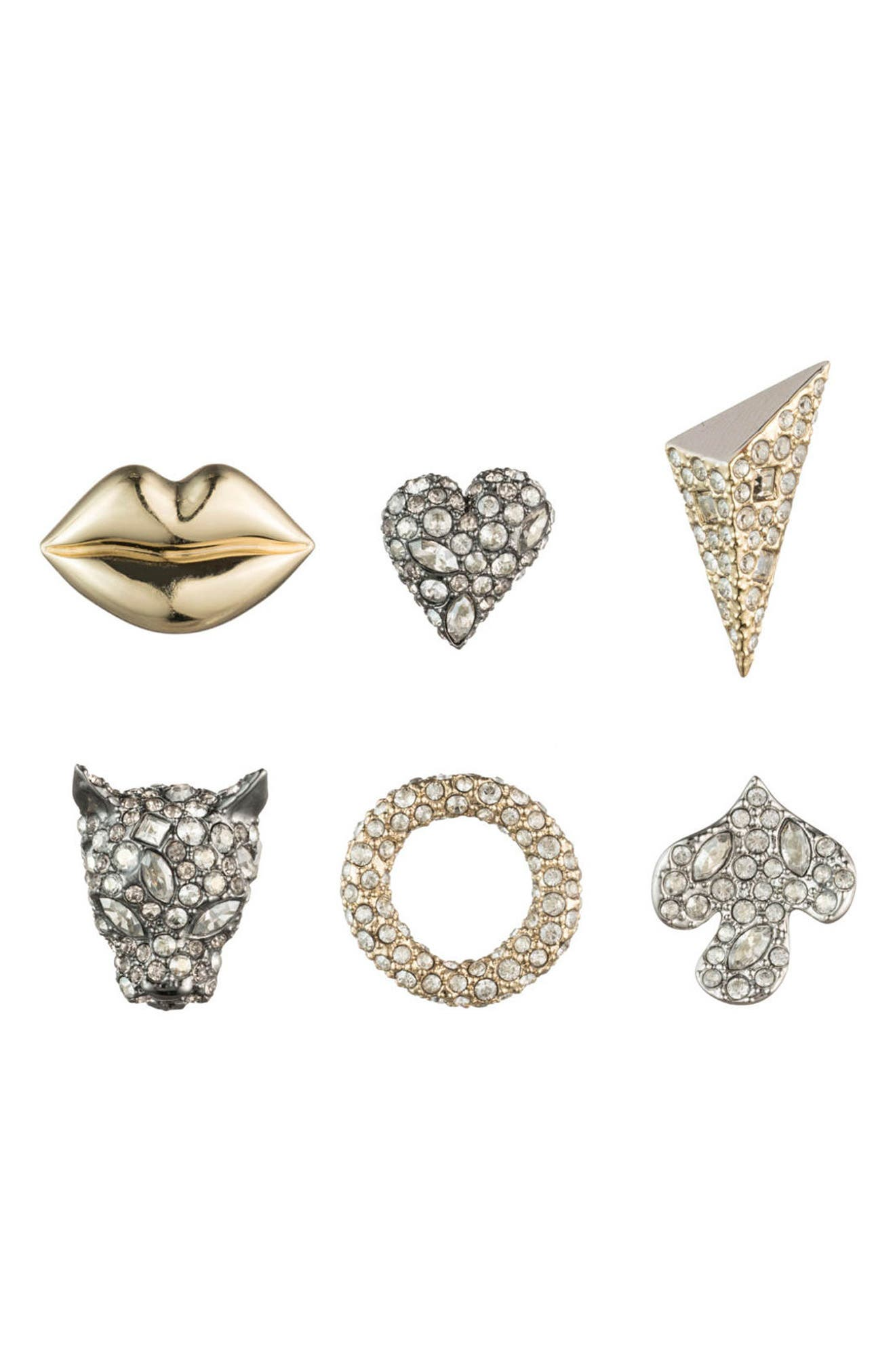 Mismatched 3-Pair Stud Earring Set,                         Main,                         color, GOLD/ SILVER